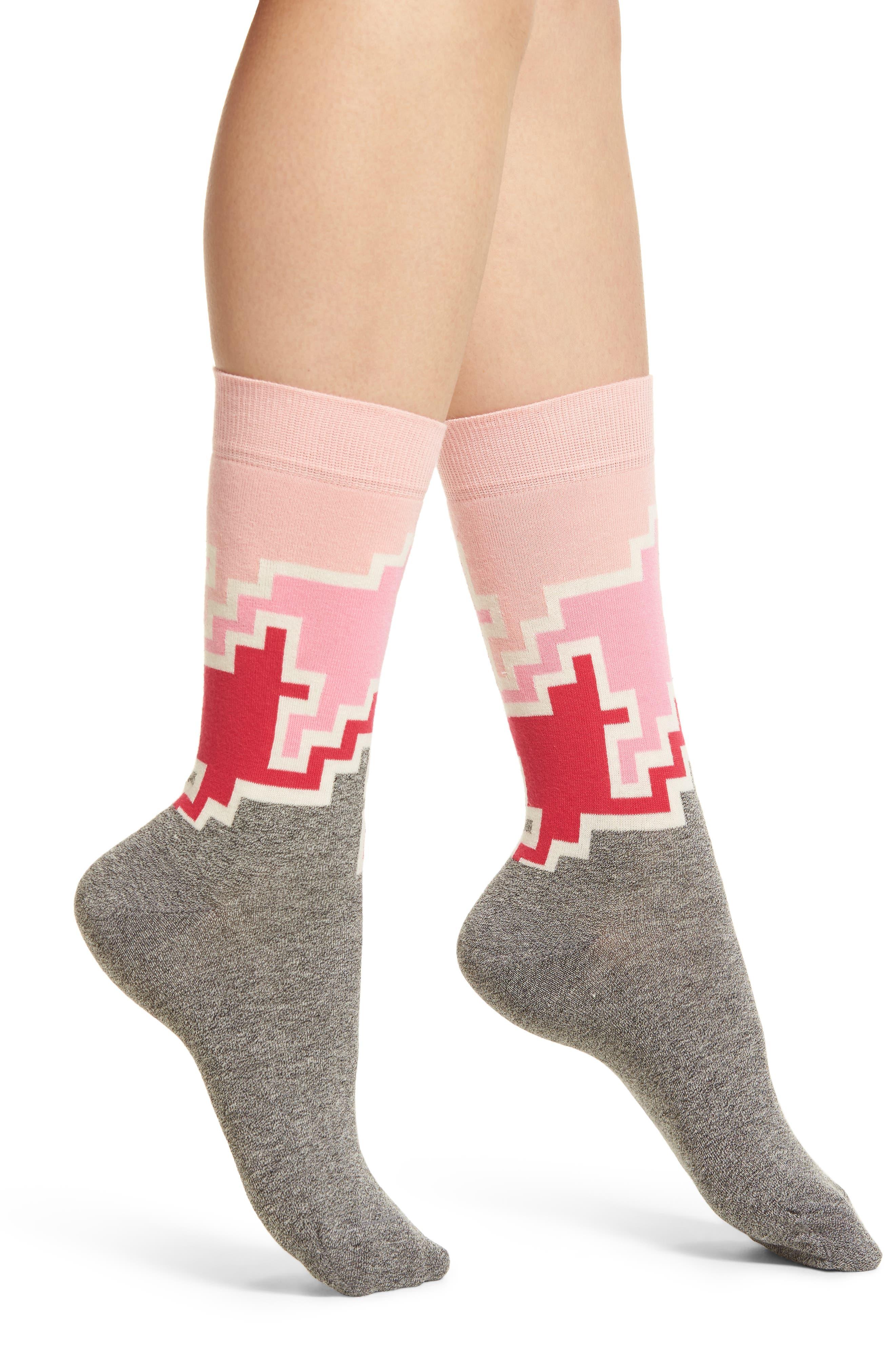 Geo Block Crew Socks,                         Main,                         color, Pink