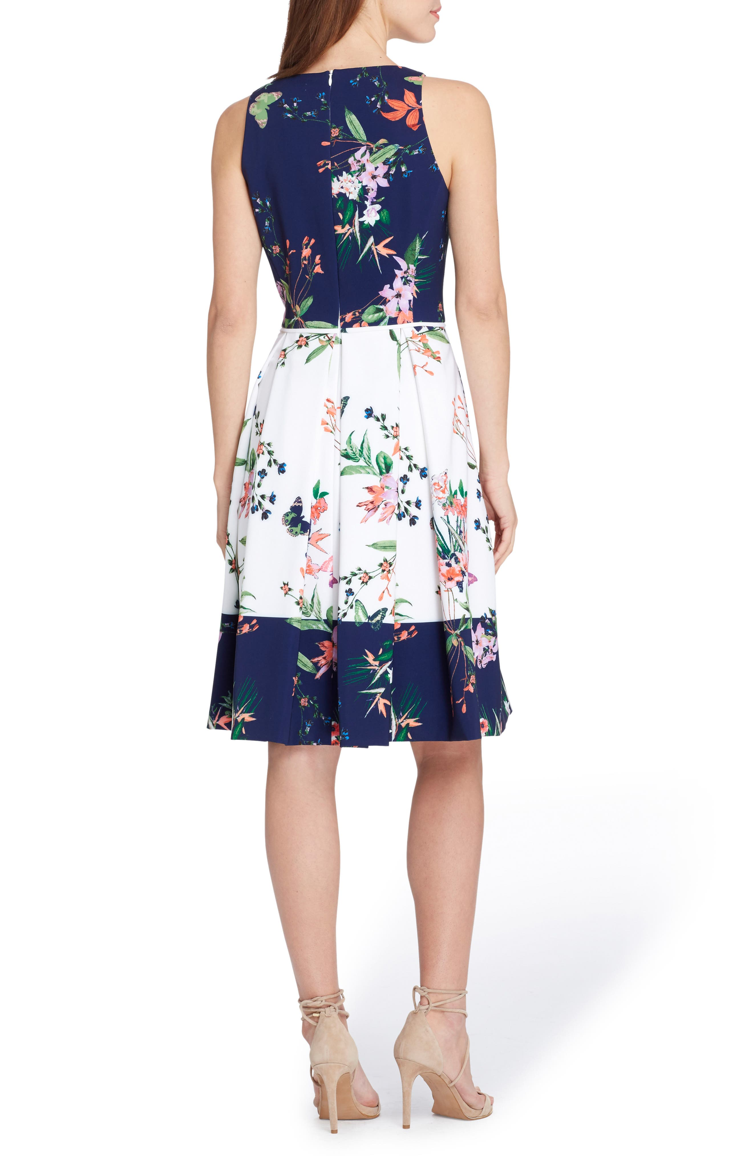 Colorblock Floral Crepe Fit & Flare Dress,                             Alternate thumbnail 2, color,                             Ivory/ Navy/ Coral