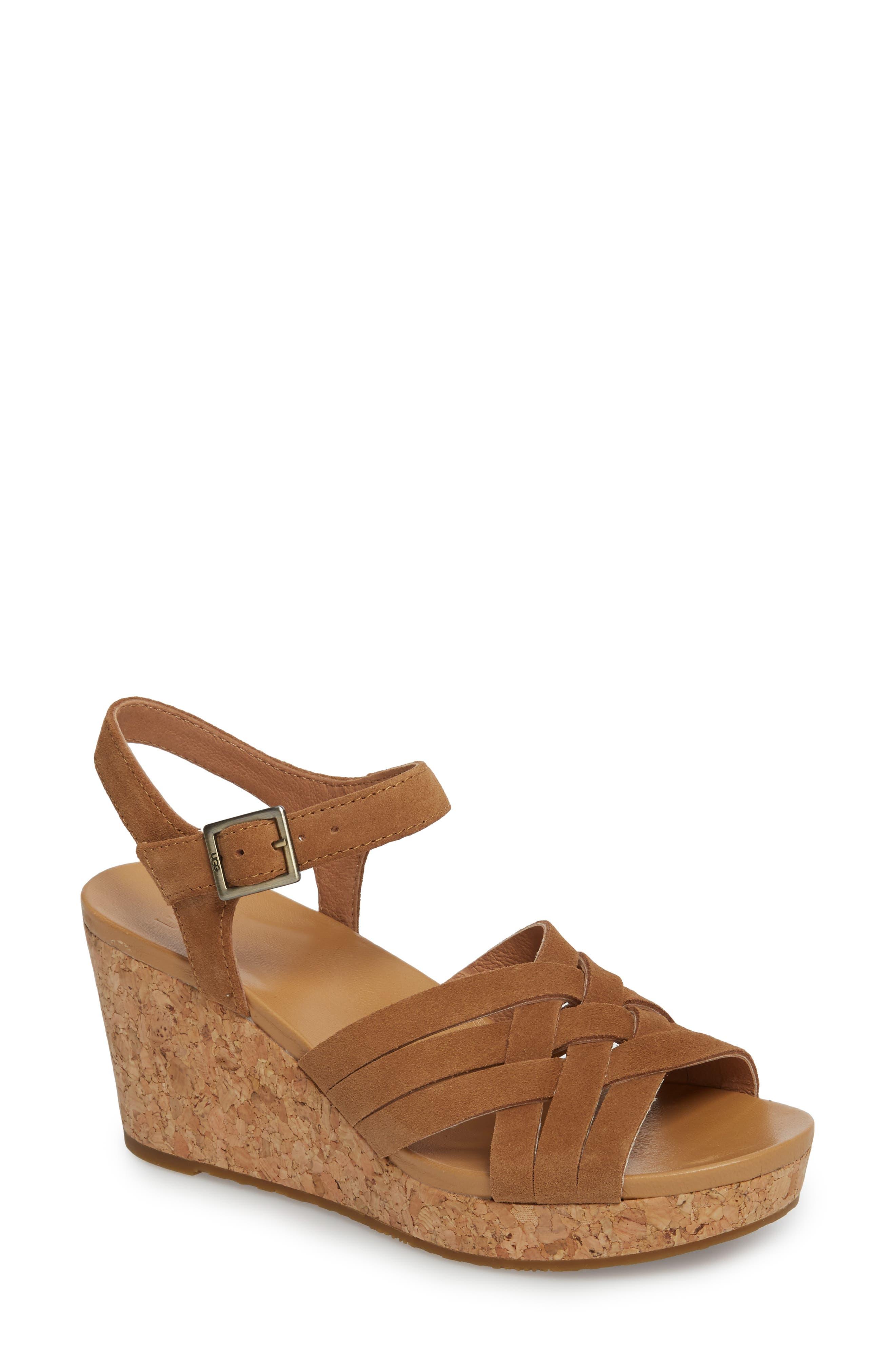Uma Wedge Sandal,                             Main thumbnail 1, color,                             Chestnut Suede
