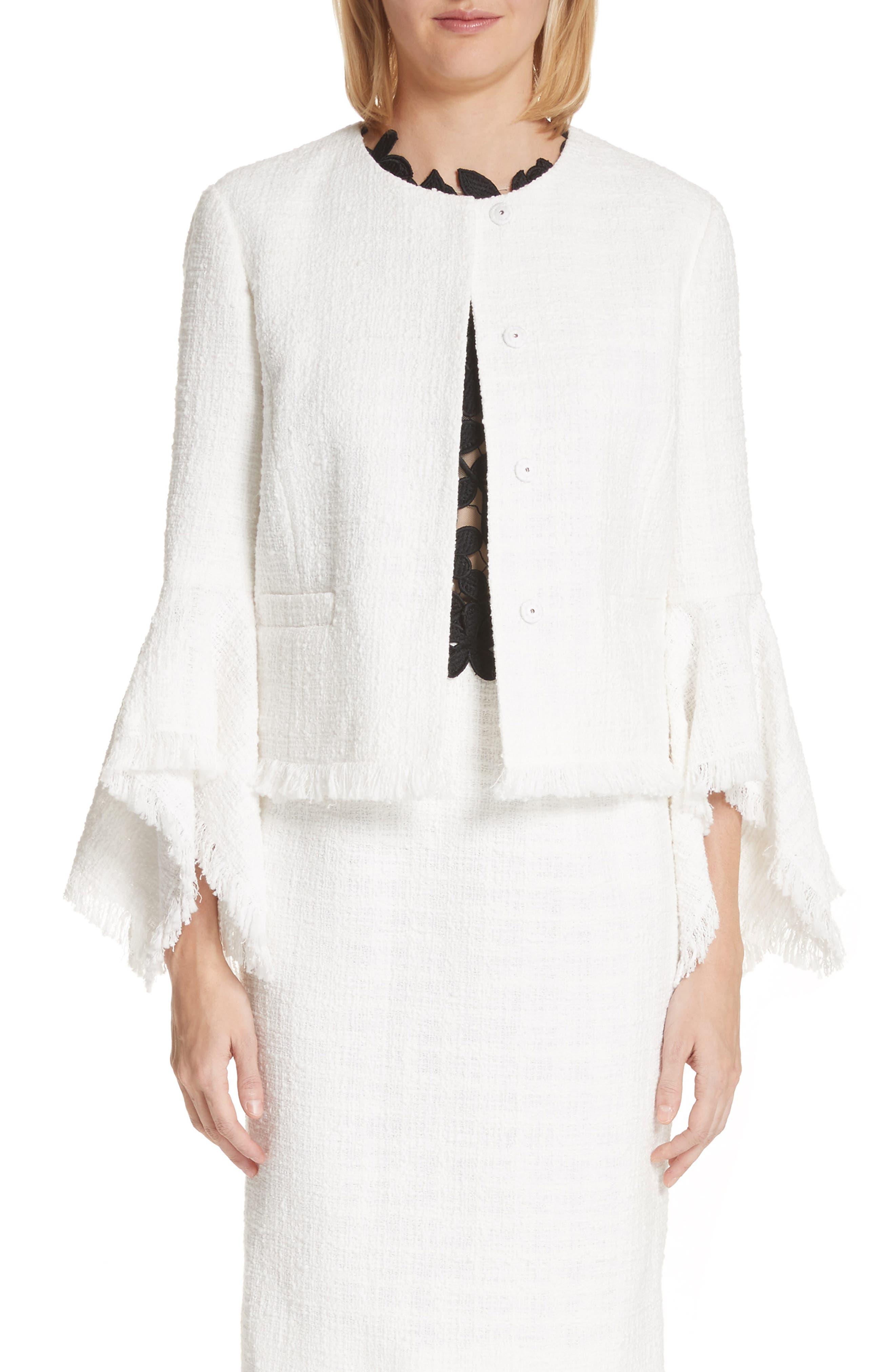Ribbon Tweed Cascade Cuff Jacket,                         Main,                         color, Ivory
