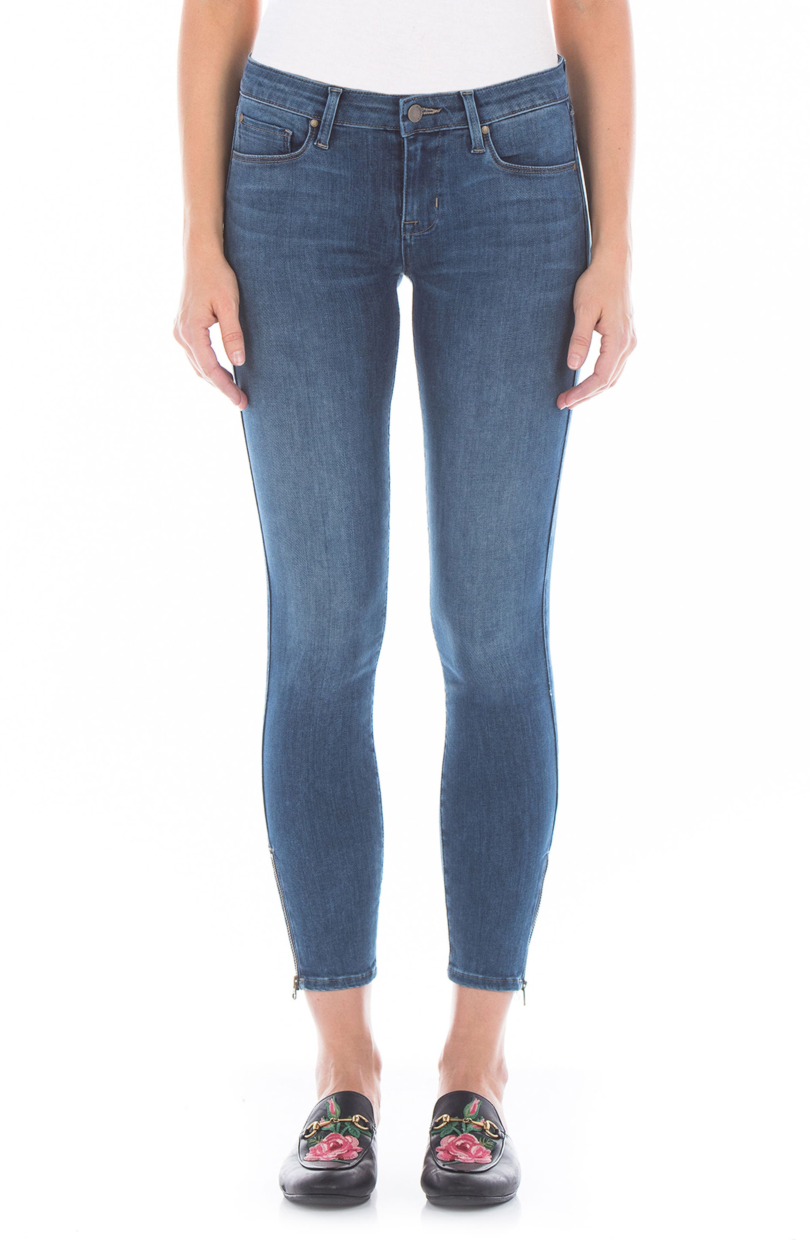 Mila Ankle Zip Skinny Jeans,                             Main thumbnail 1, color,                             Blue Coast