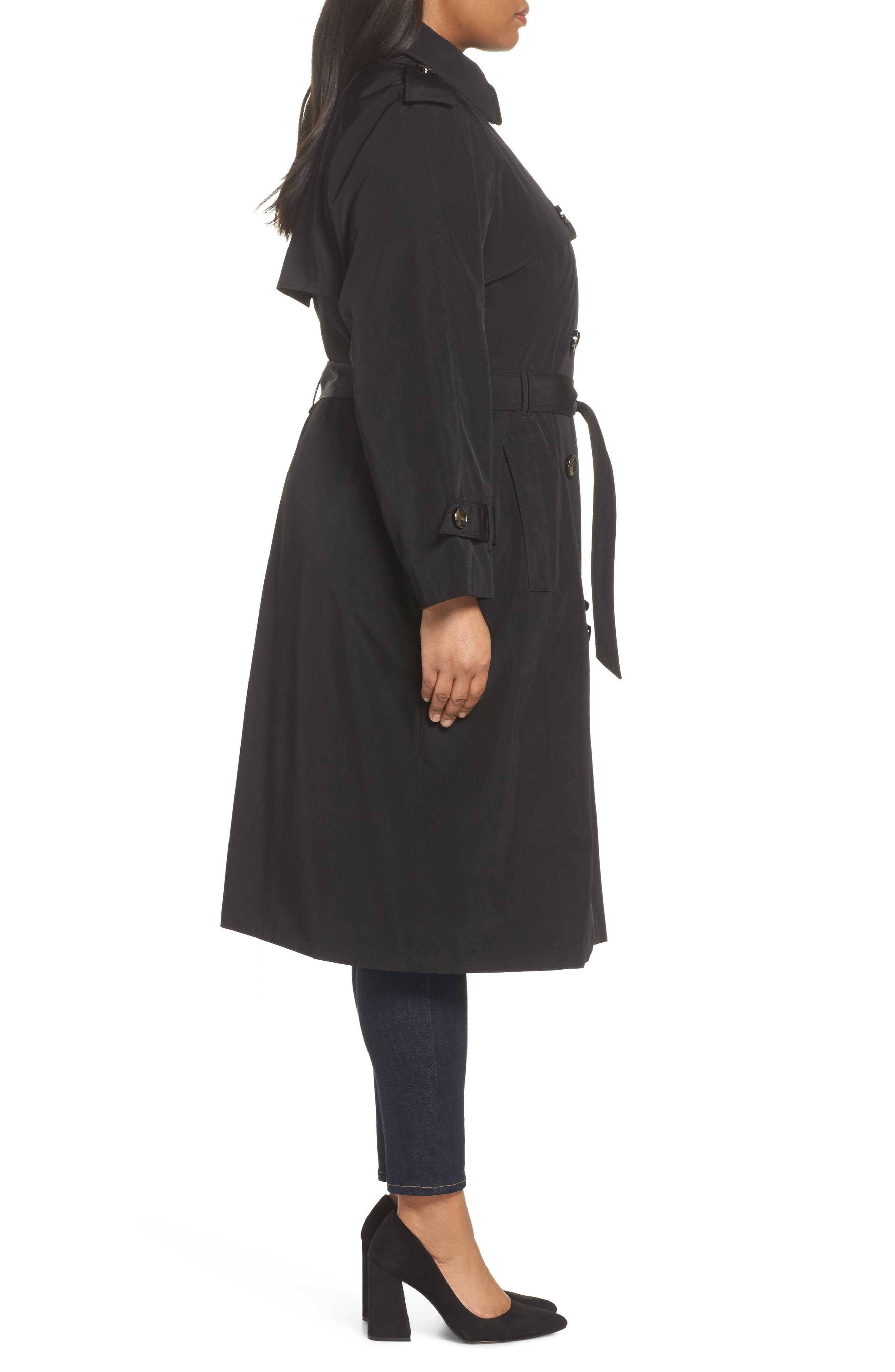 Water Resistant Hooded Trench Coat,                             Alternate thumbnail 3, color,                             Black