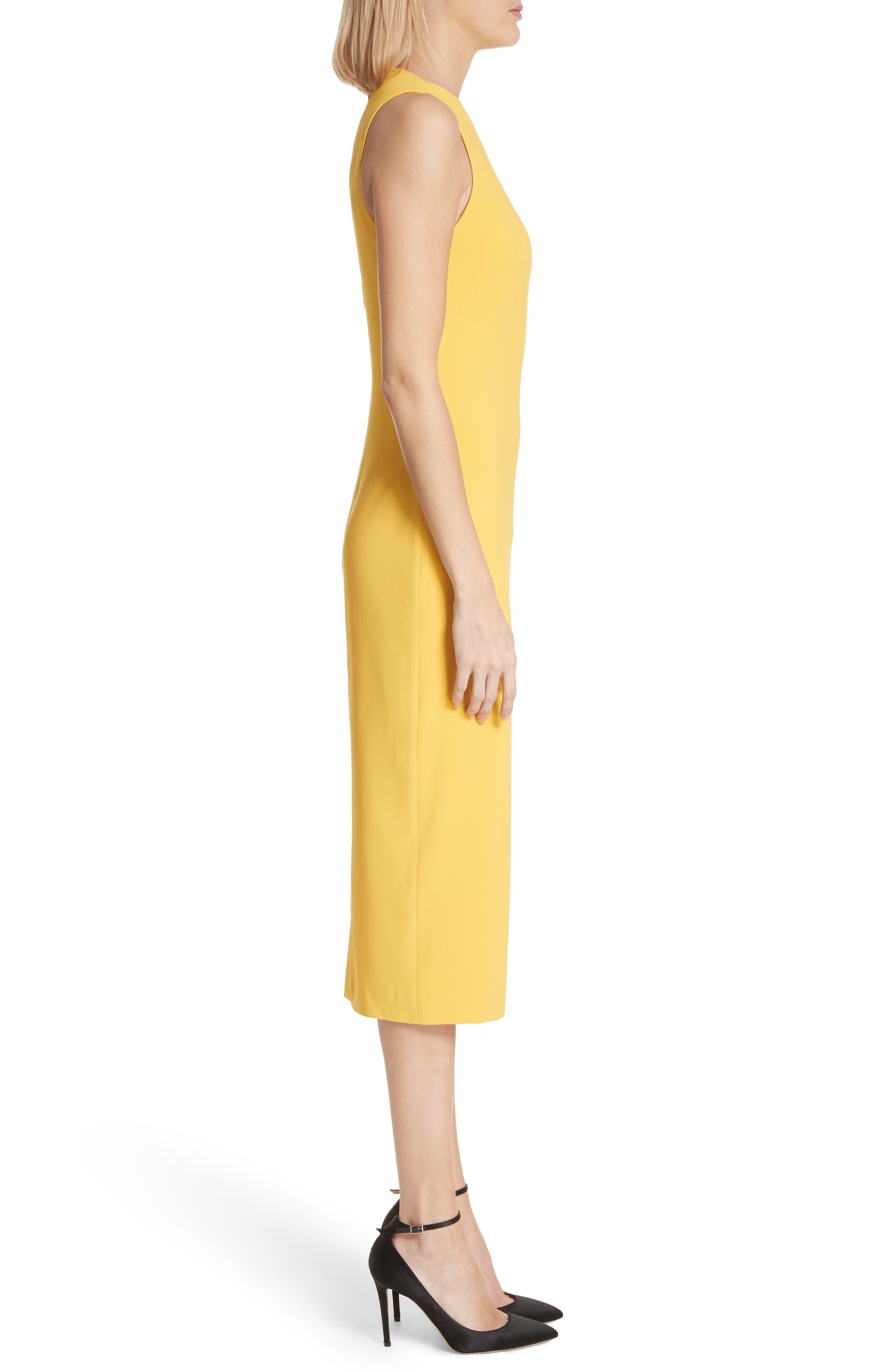 Sheath Midi Dress,                             Alternate thumbnail 3, color,                             Yellow