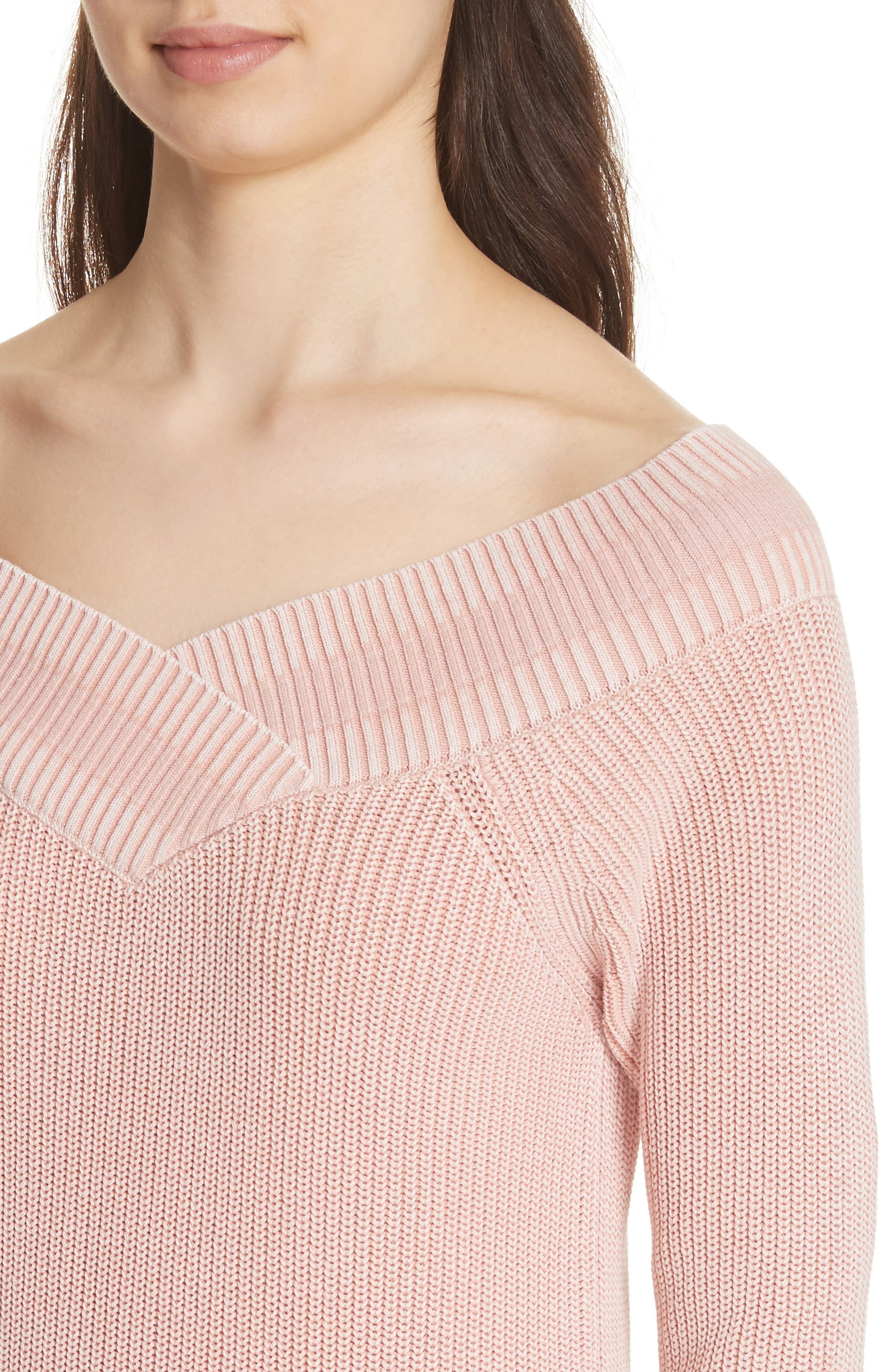 Dawn Off the Shoulder Knit Top,                             Alternate thumbnail 4, color,                             Pink