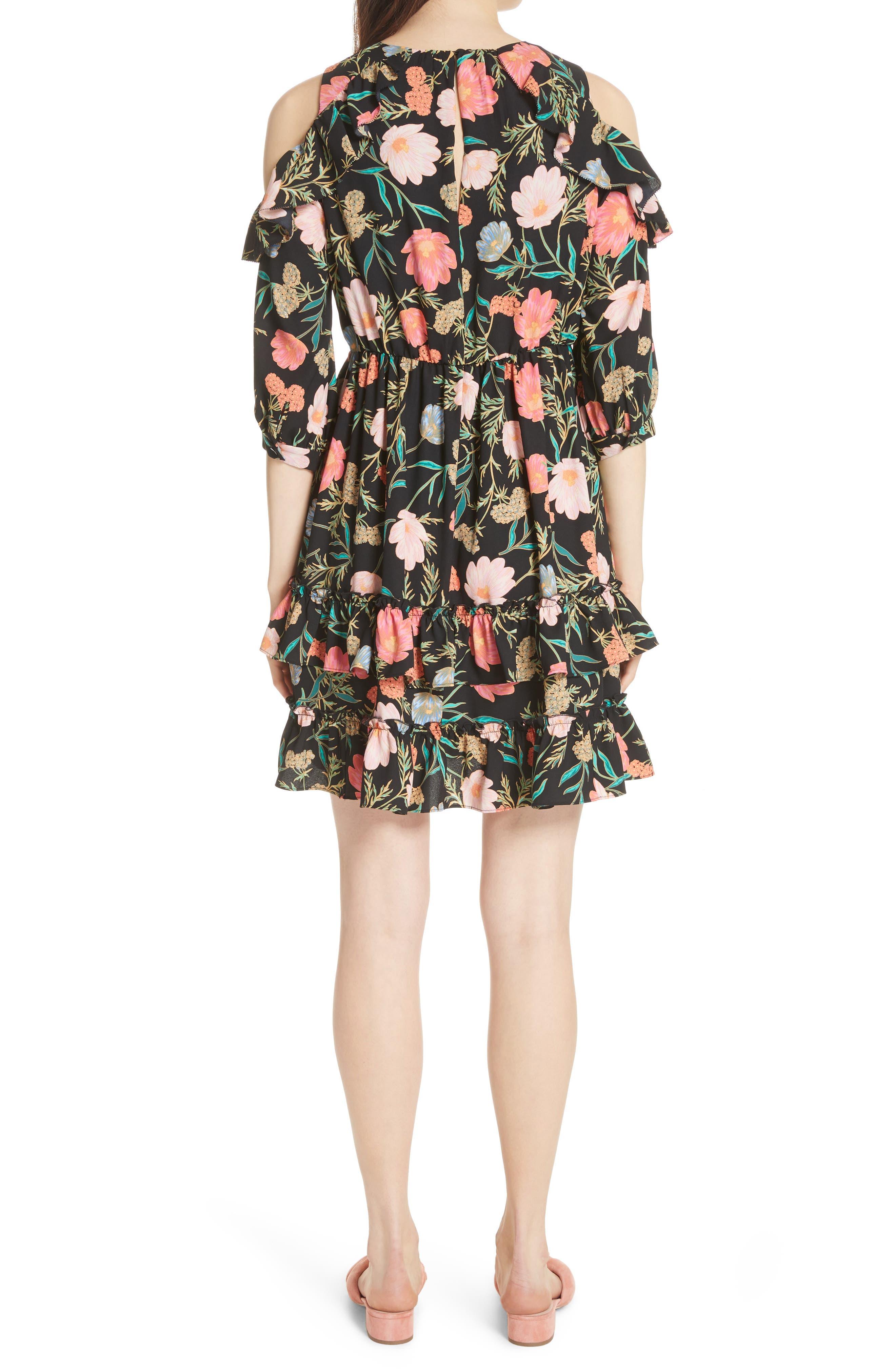 blossom cold shoulder dress,                             Alternate thumbnail 2, color,                             Black