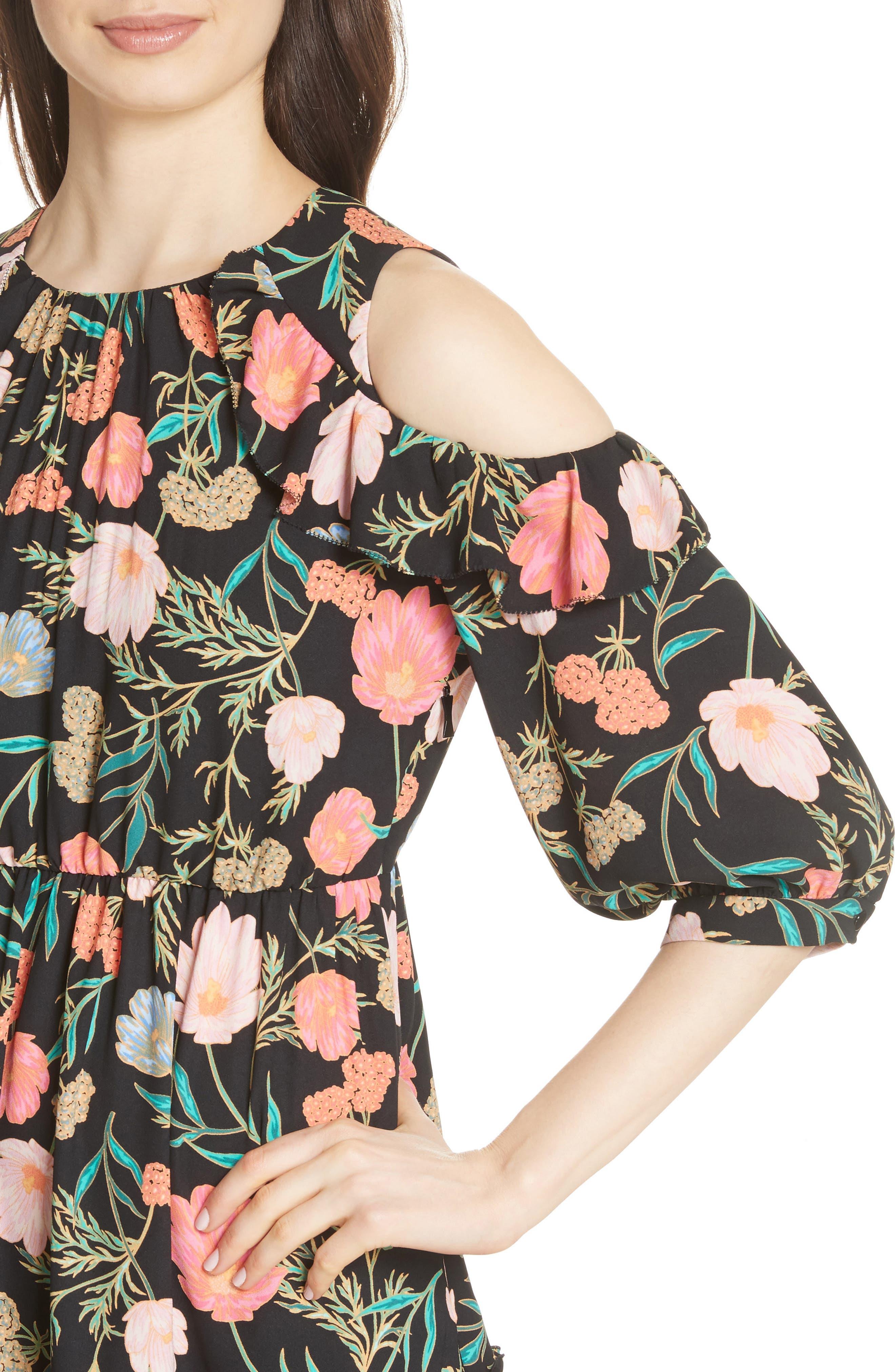 blossom cold shoulder dress,                             Alternate thumbnail 4, color,                             Black