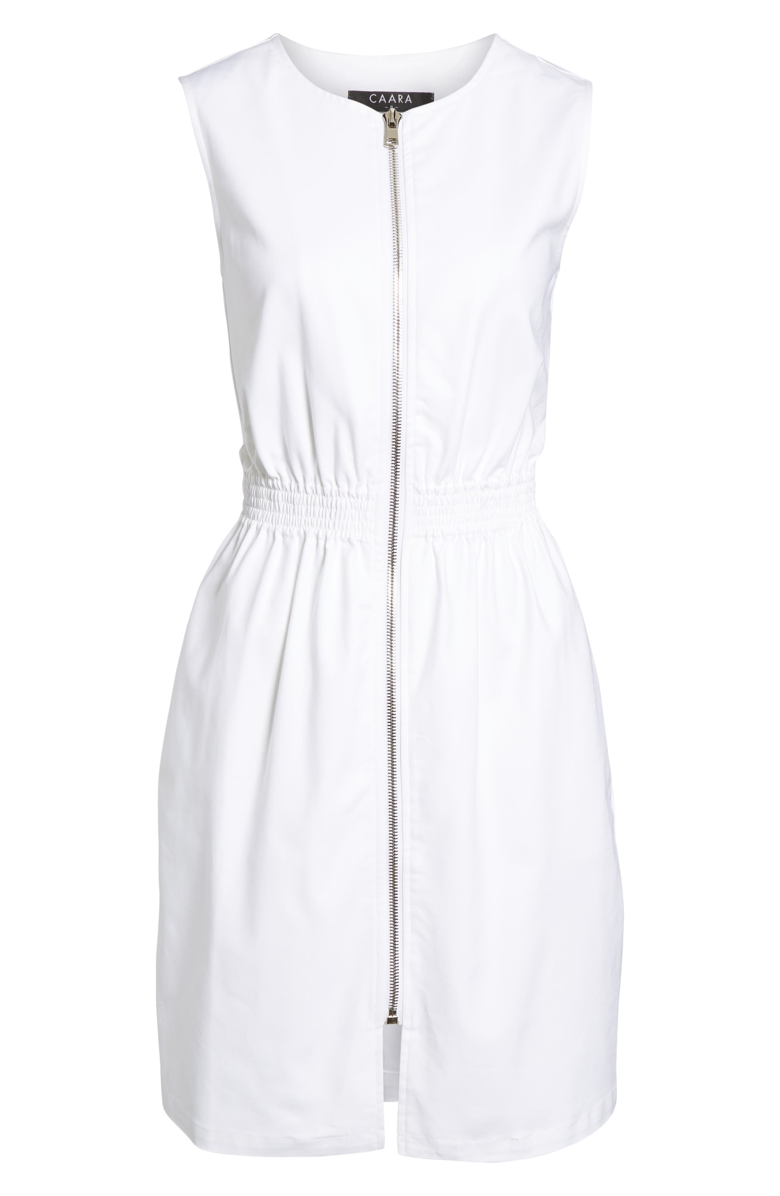 Astoria Zip Front Dress,                             Alternate thumbnail 6, color,                             White