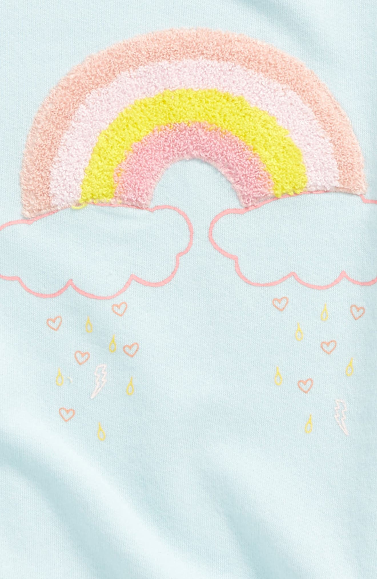 Rainbow Appliqué Sweatshirt,                             Alternate thumbnail 2, color,                             Blue Glow Rainbow