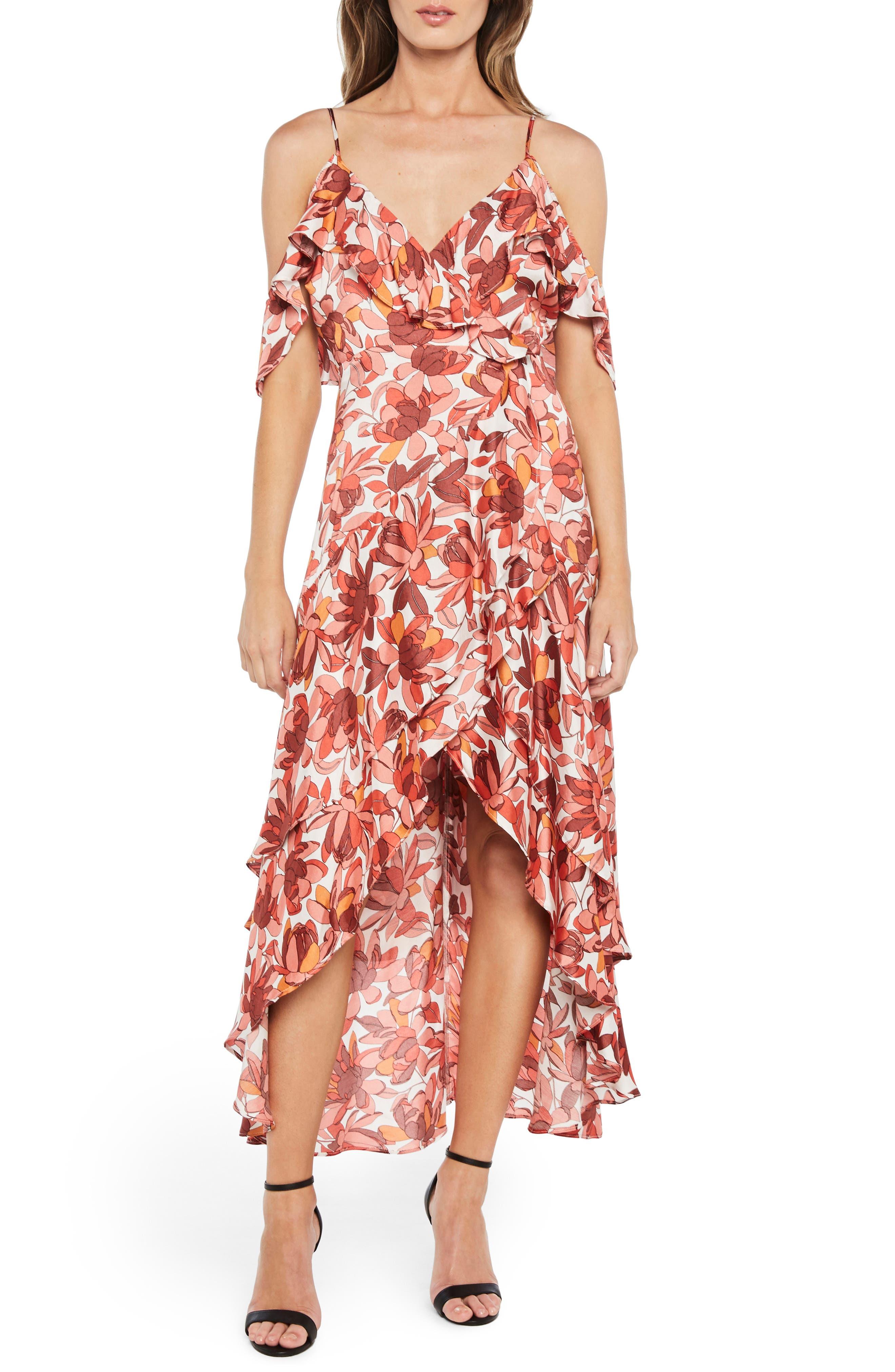 Frankie Frill Floral Dress,                             Main thumbnail 1, color,                             Azr Floral