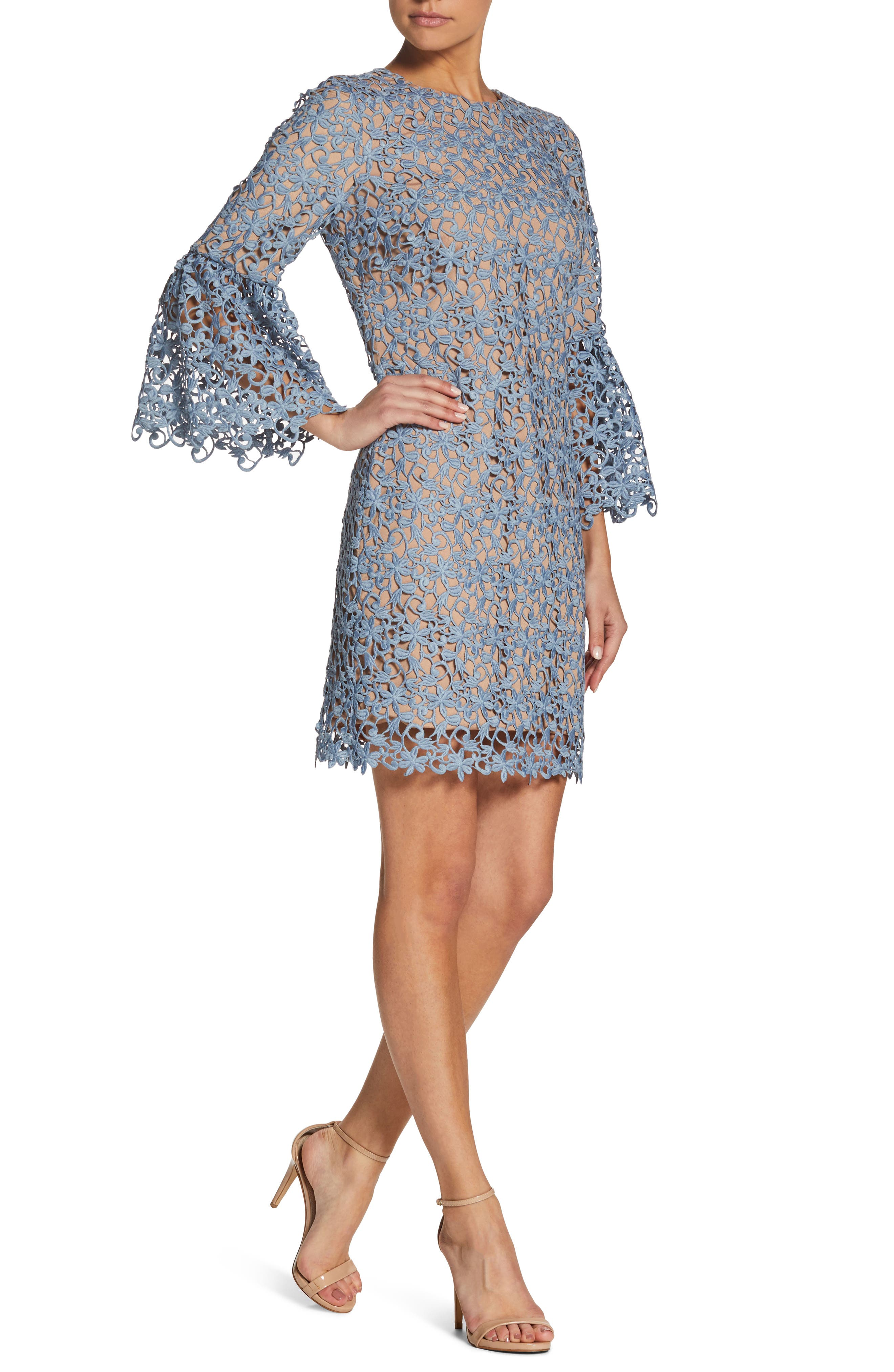 Paige Crochet Shift Dress,                             Alternate thumbnail 4, color,                             Mineral Blue/ Nude
