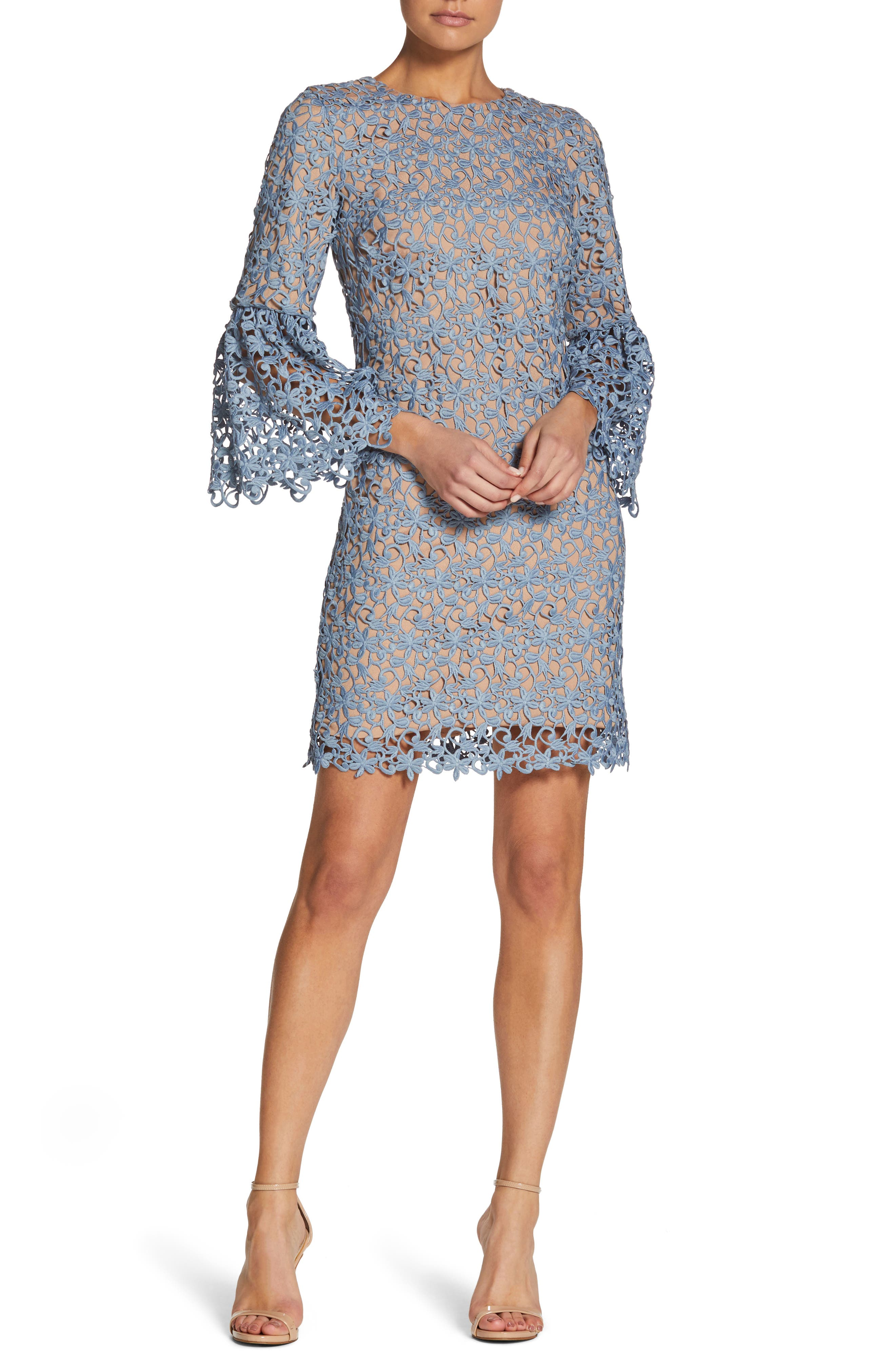 Paige Crochet Shift Dress,                             Main thumbnail 1, color,                             Mineral Blue/ Nude
