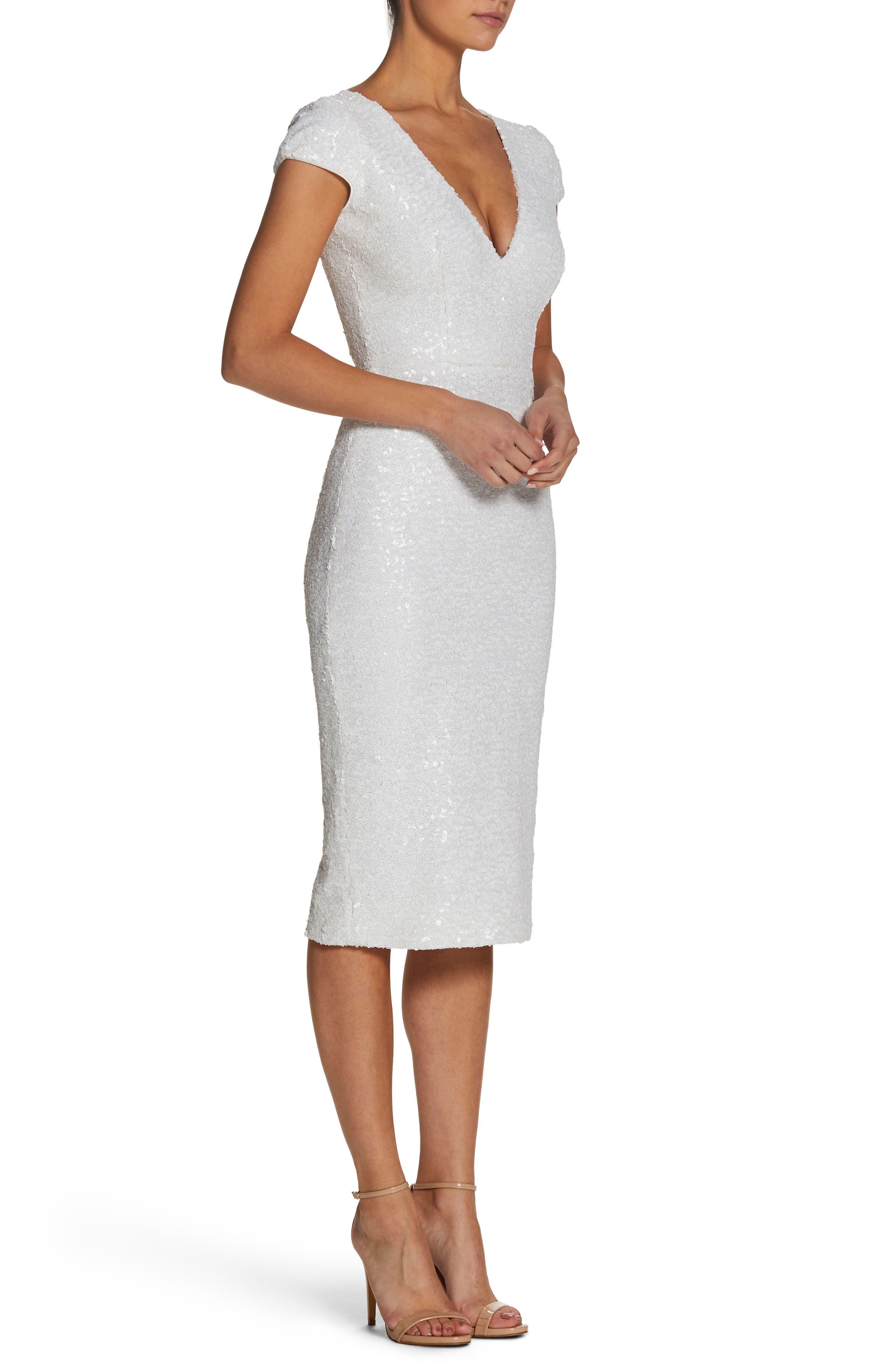 Allison Sequin Sheath Dress,                             Alternate thumbnail 3, color,                             White