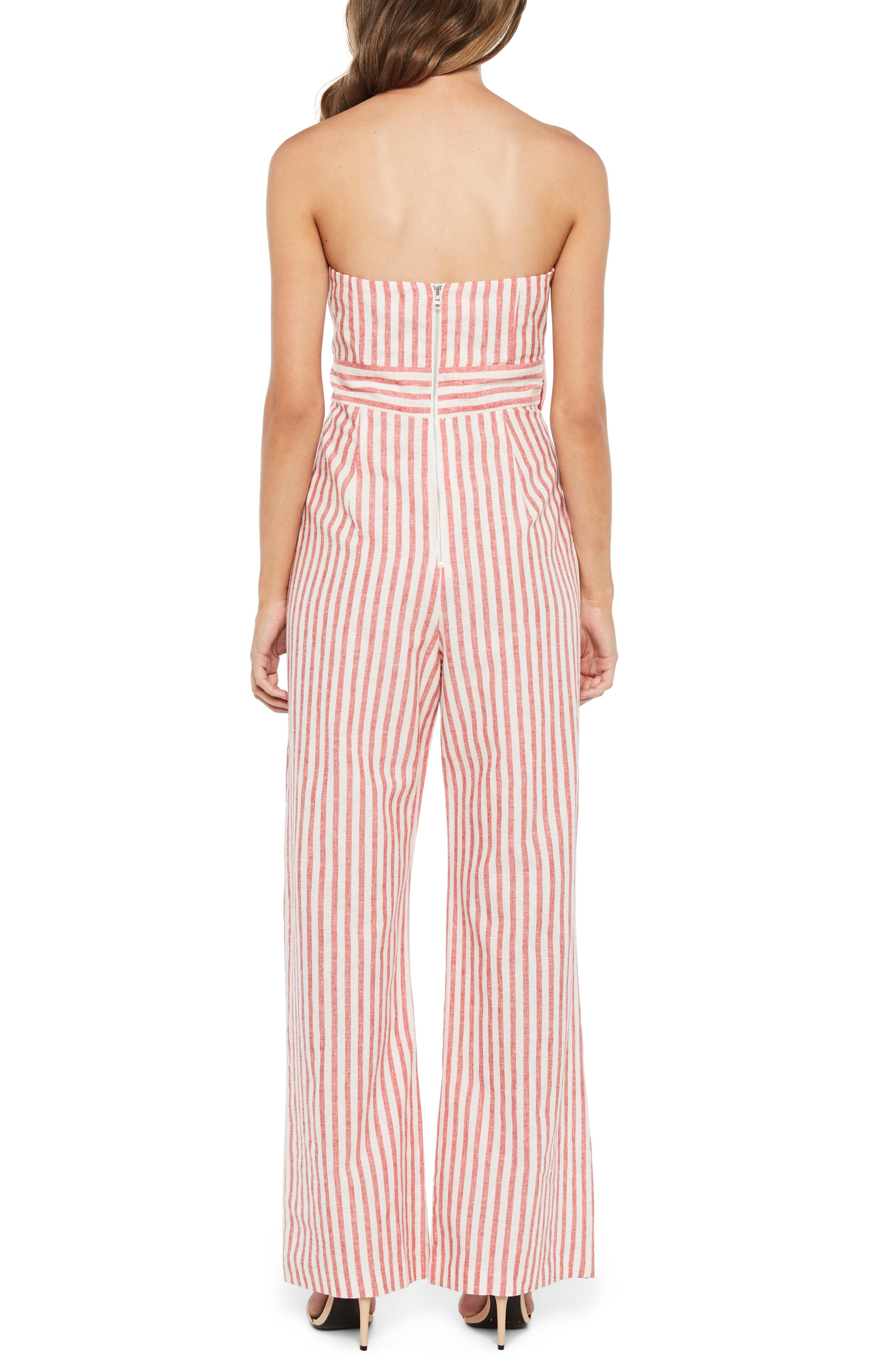 Stripe Strapless Jumpsuit,                             Alternate thumbnail 2, color,                             Red Stripe