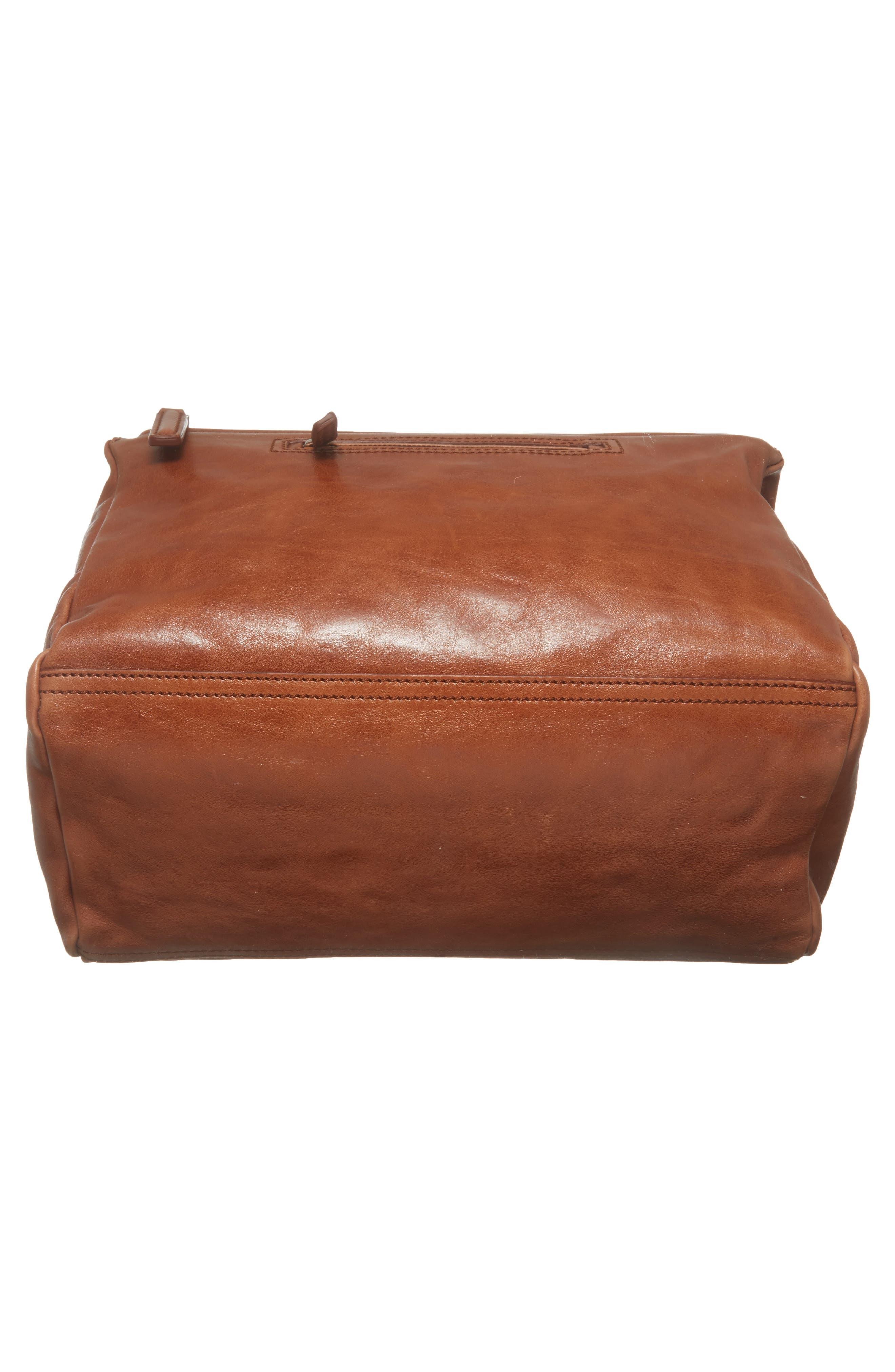 Medium Pandora Shiny Aged Leather Satchel,                             Alternate thumbnail 6, color,                             Cognac