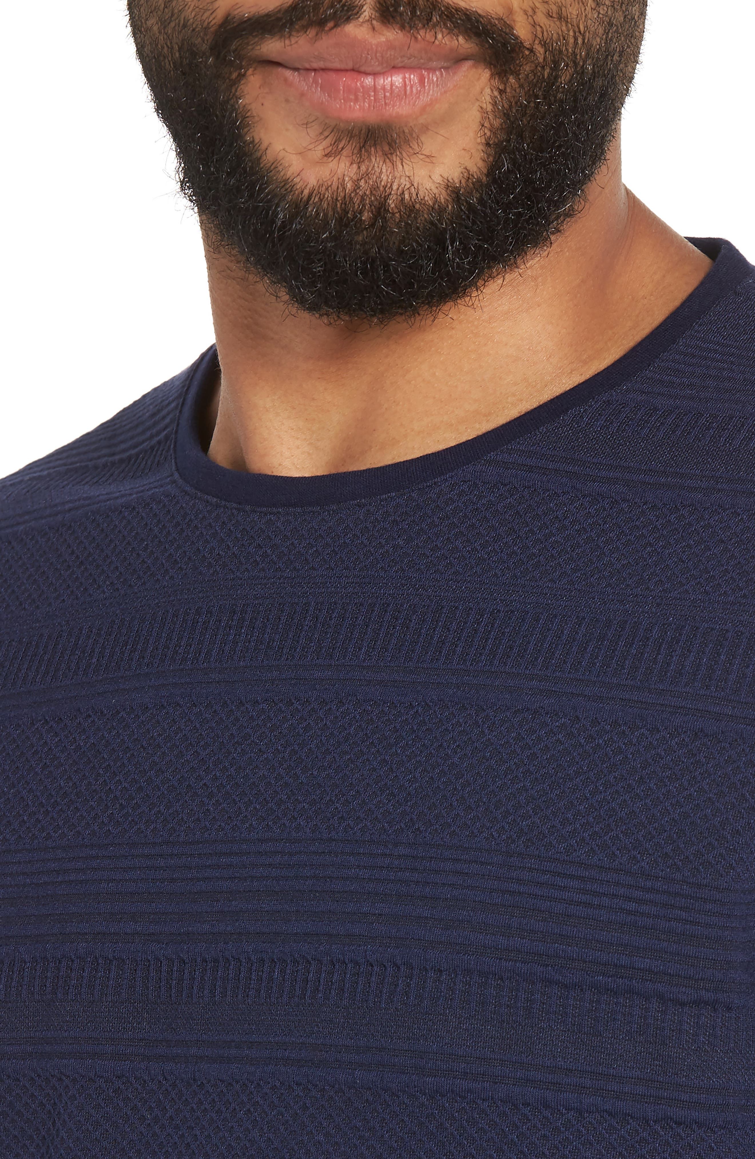 Banded Cuff Crewneck T-Shirt,                             Alternate thumbnail 4, color,                             Navy/Black