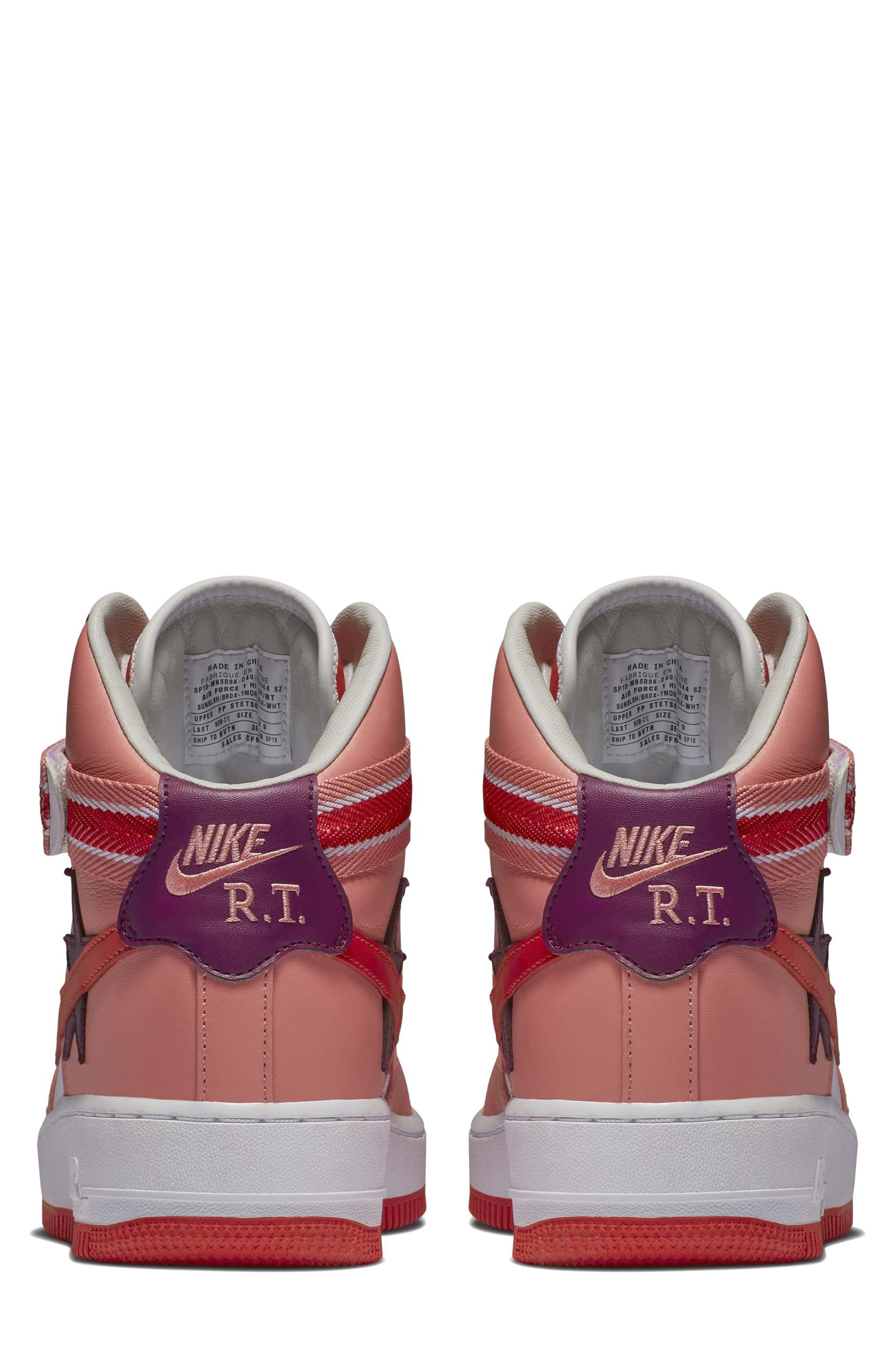 Air Force 1 High RT Sneaker,                             Alternate thumbnail 2, color,                             Coral/ Bordeax/ Orange/ Black
