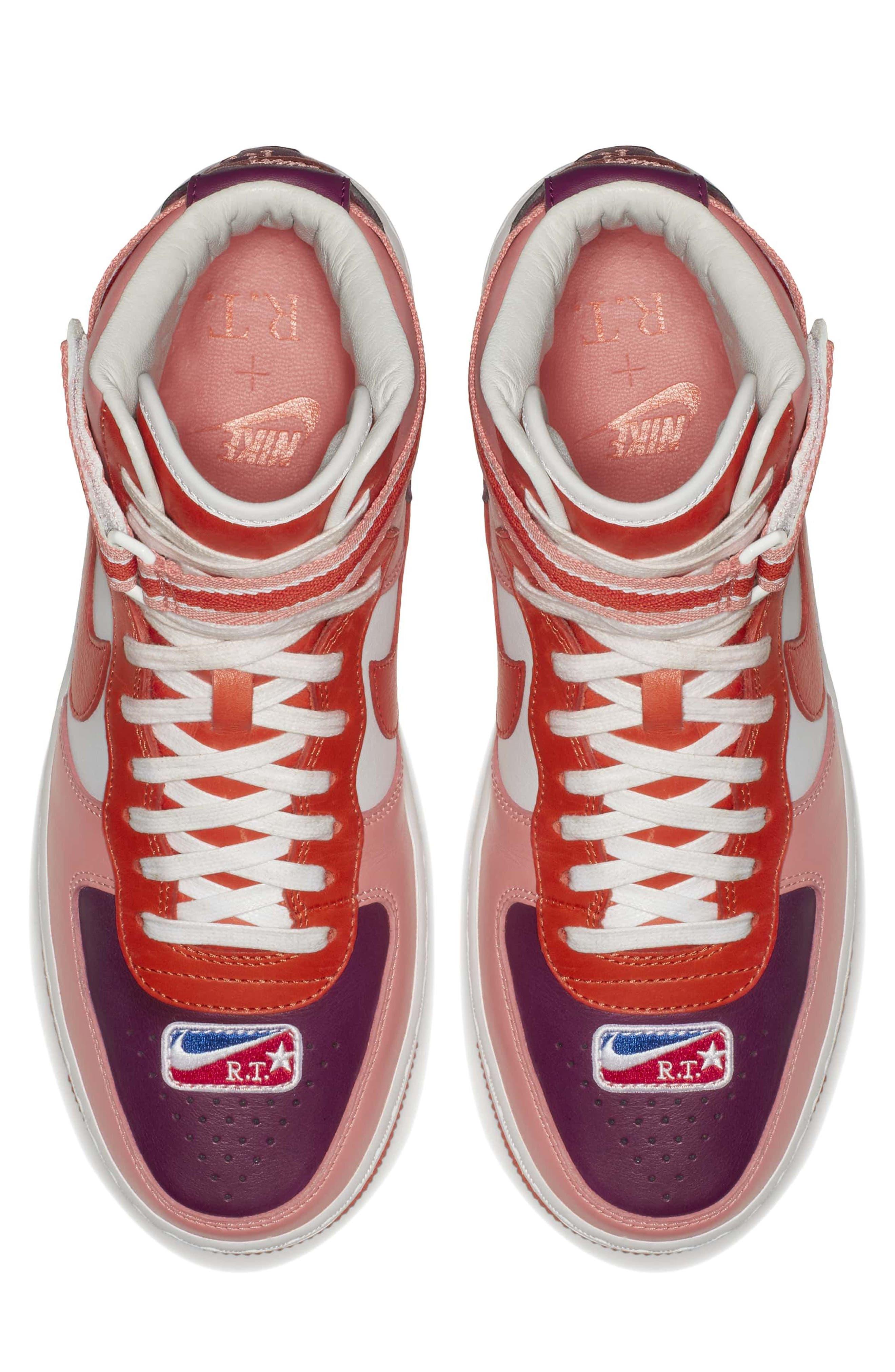 Air Force 1 High RT Sneaker,                             Alternate thumbnail 4, color,                             Coral/ Bordeax/ Orange/ Black