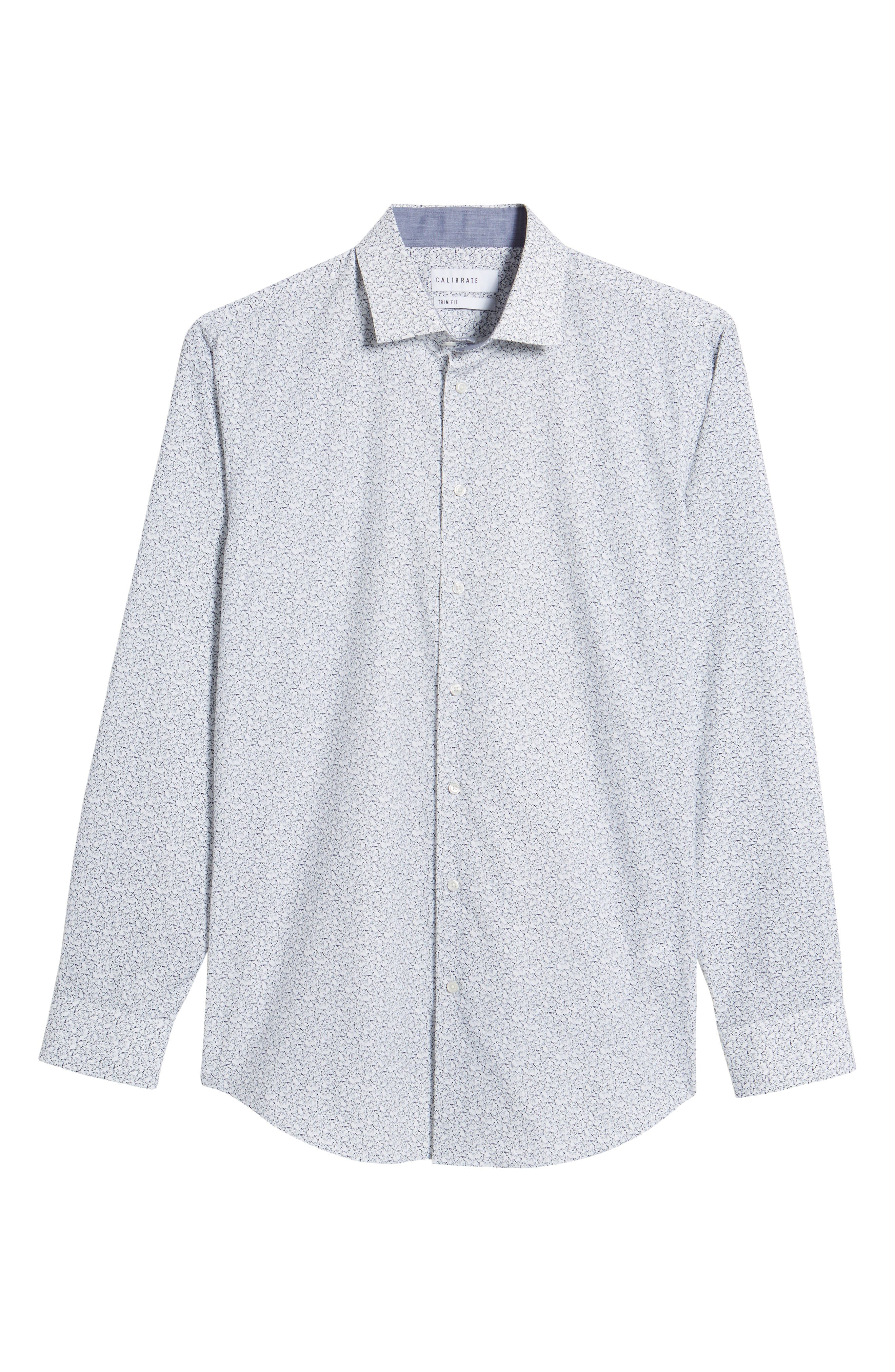 Trim Fit Butterfly Print Sport Shirt,                             Alternate thumbnail 6, color,                             White