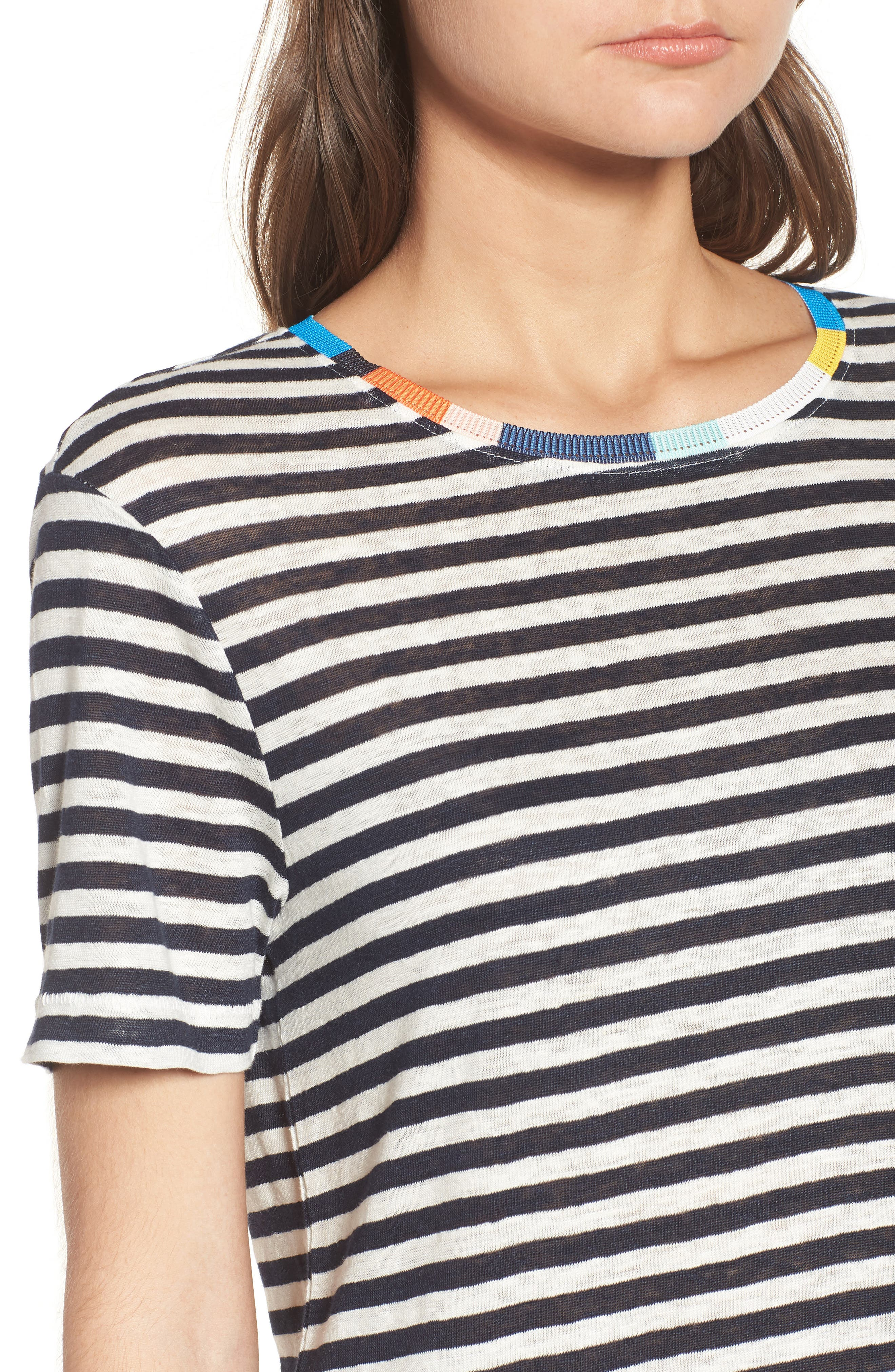 x Margherita Ciao Bella Stripe Tee,                             Alternate thumbnail 5, color,                             Natural/ Navy