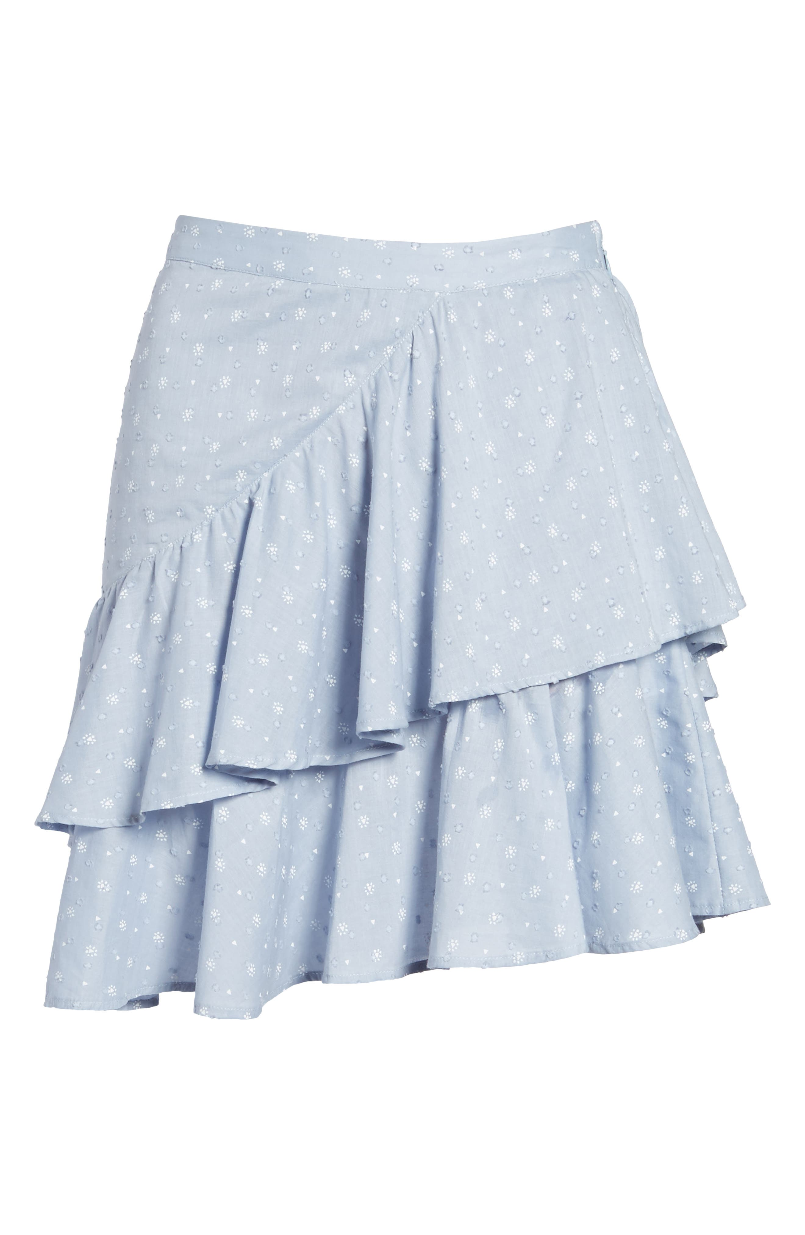 Mara Ruffled Miniskirt,                             Alternate thumbnail 7, color,                             Sail Blue
