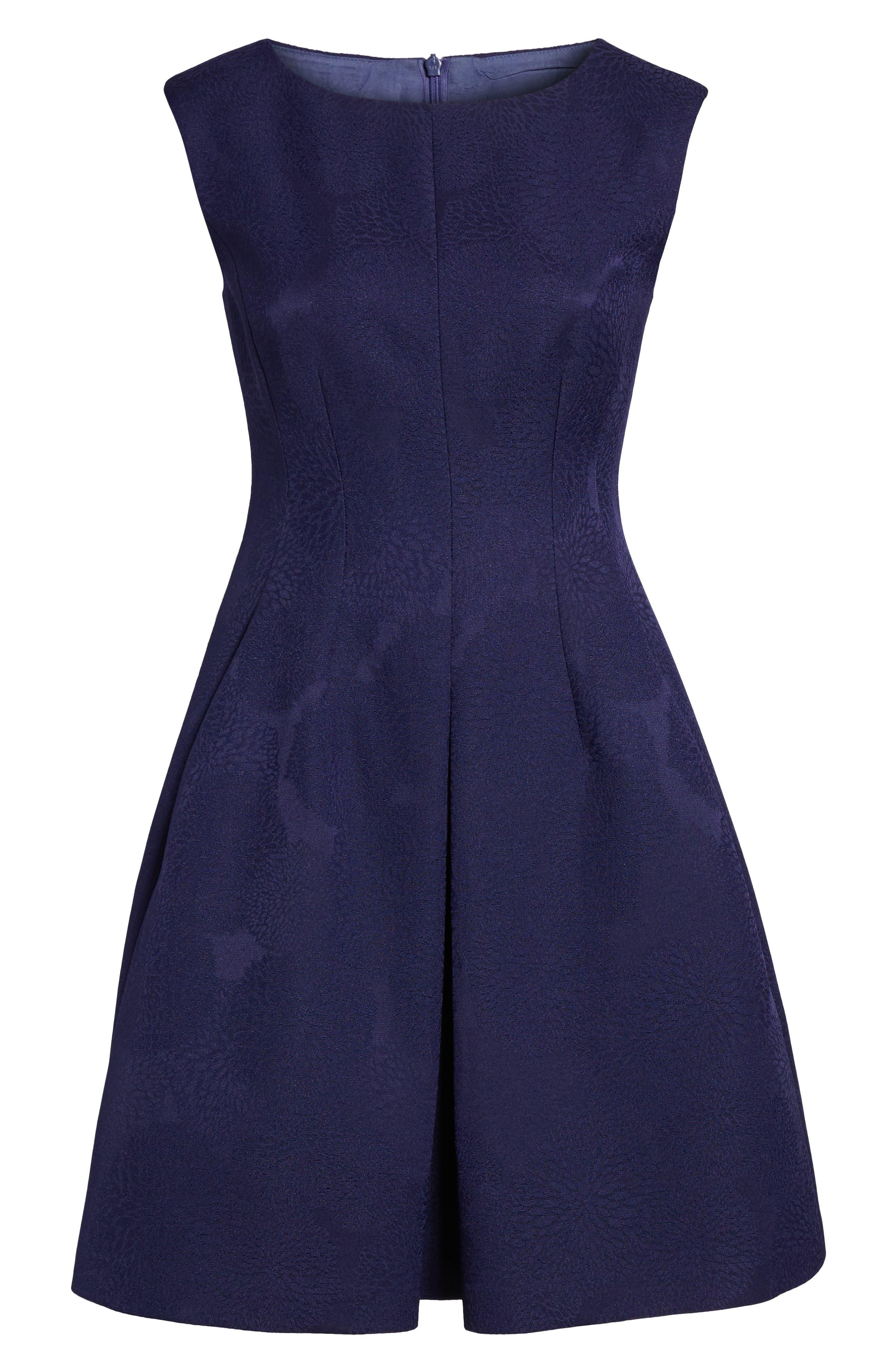 Jacquard Fit & Flare Dress,                             Alternate thumbnail 6, color,                             Monaco