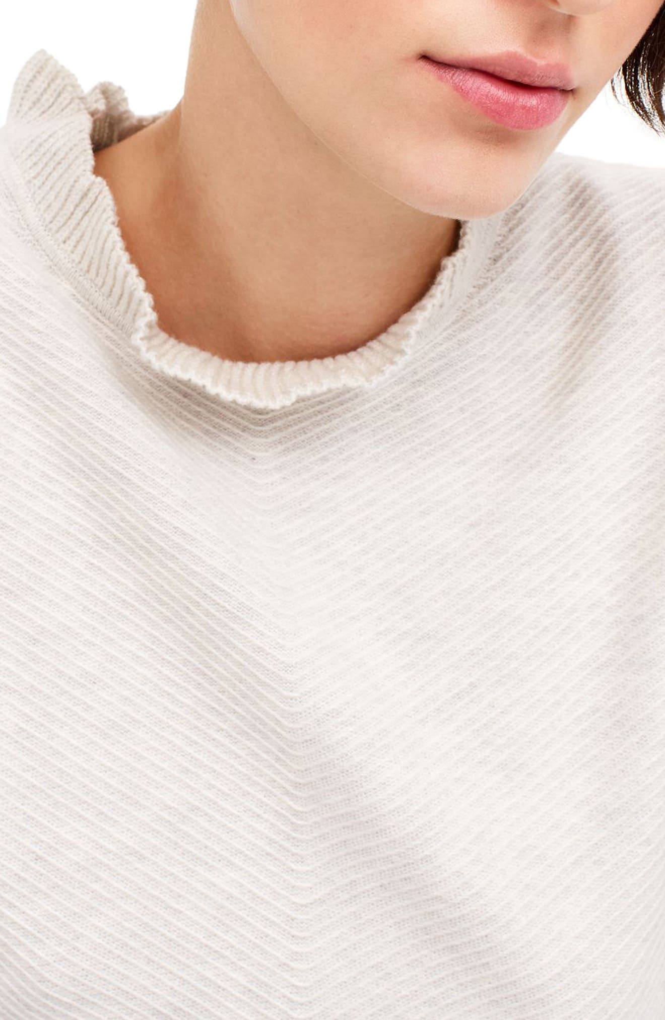 Ruffle Neck Pullover Sweater,                             Alternate thumbnail 2, color,                             Heather Nickel