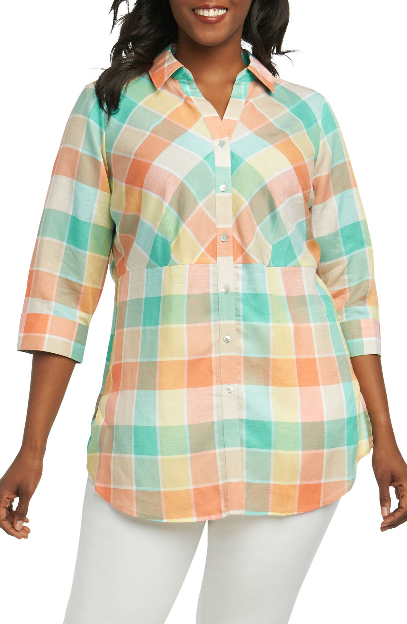 Foxcroft Perry Buffalo Check Shirt (Plus Size)