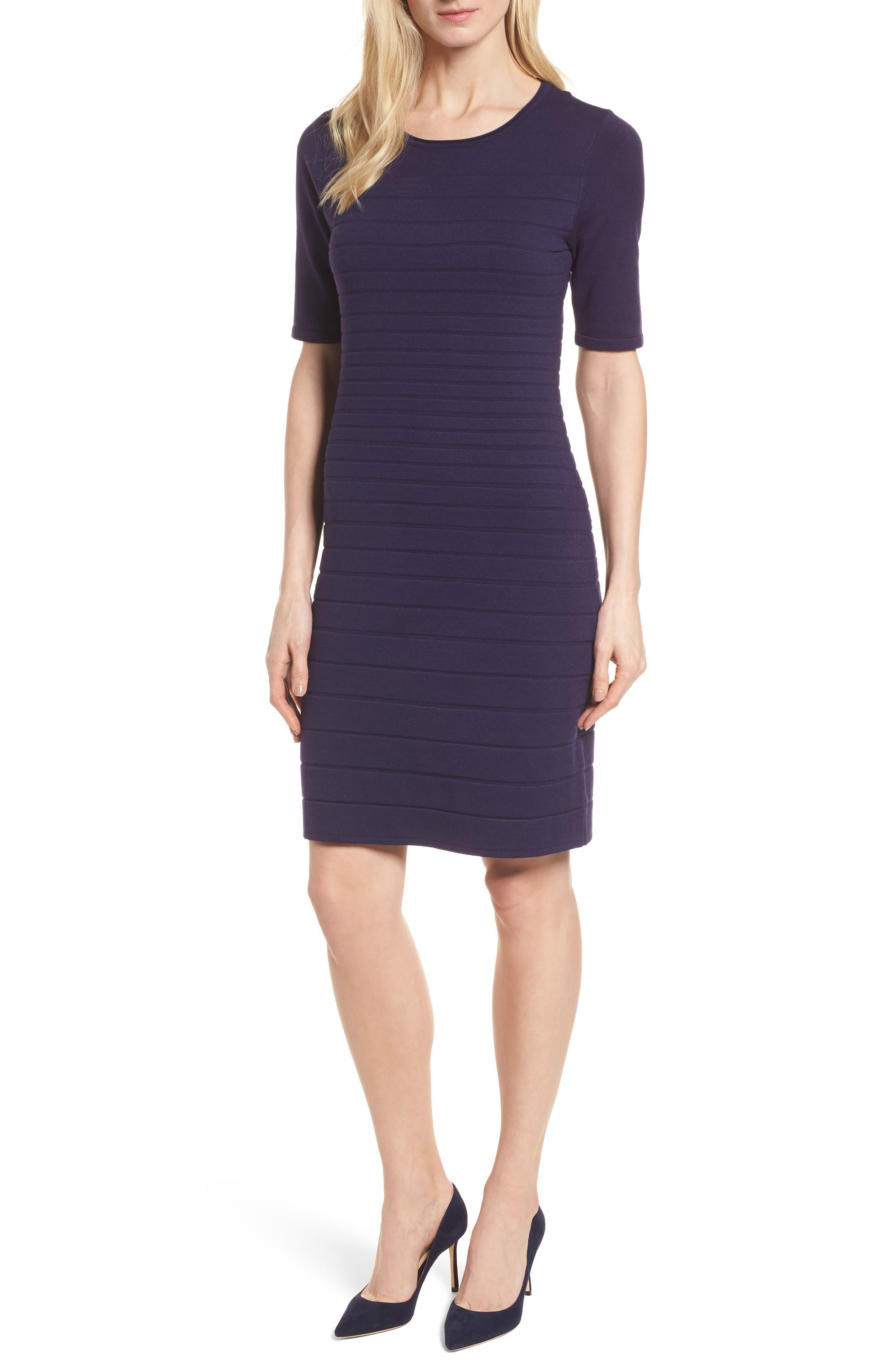 Main Image - Anne Klein New York Textured Stripe Knit Dress
