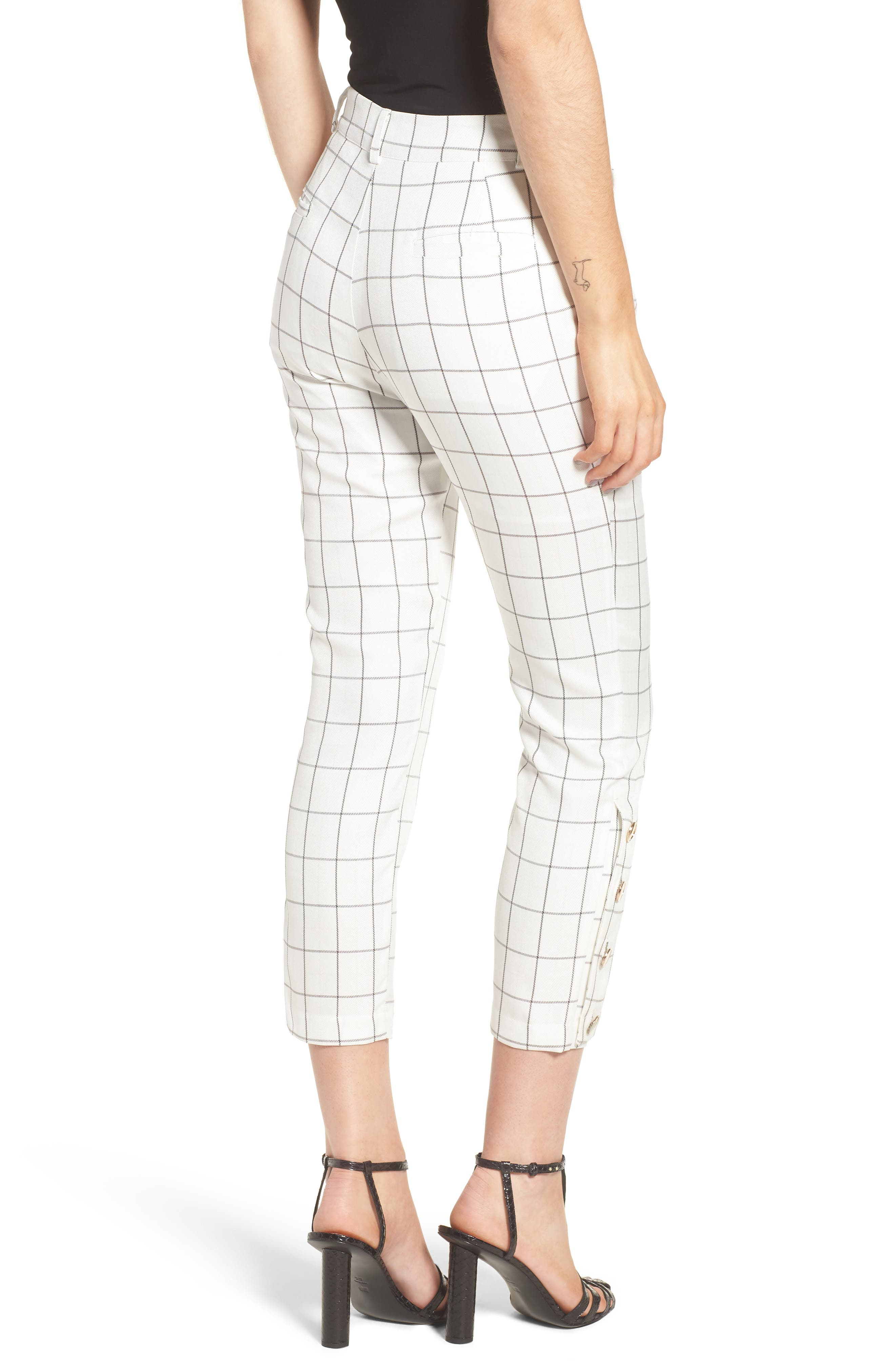 Chriselle x J.O.A. High Waist Ankle Skinny Trousers,                             Alternate thumbnail 4, color,                             White