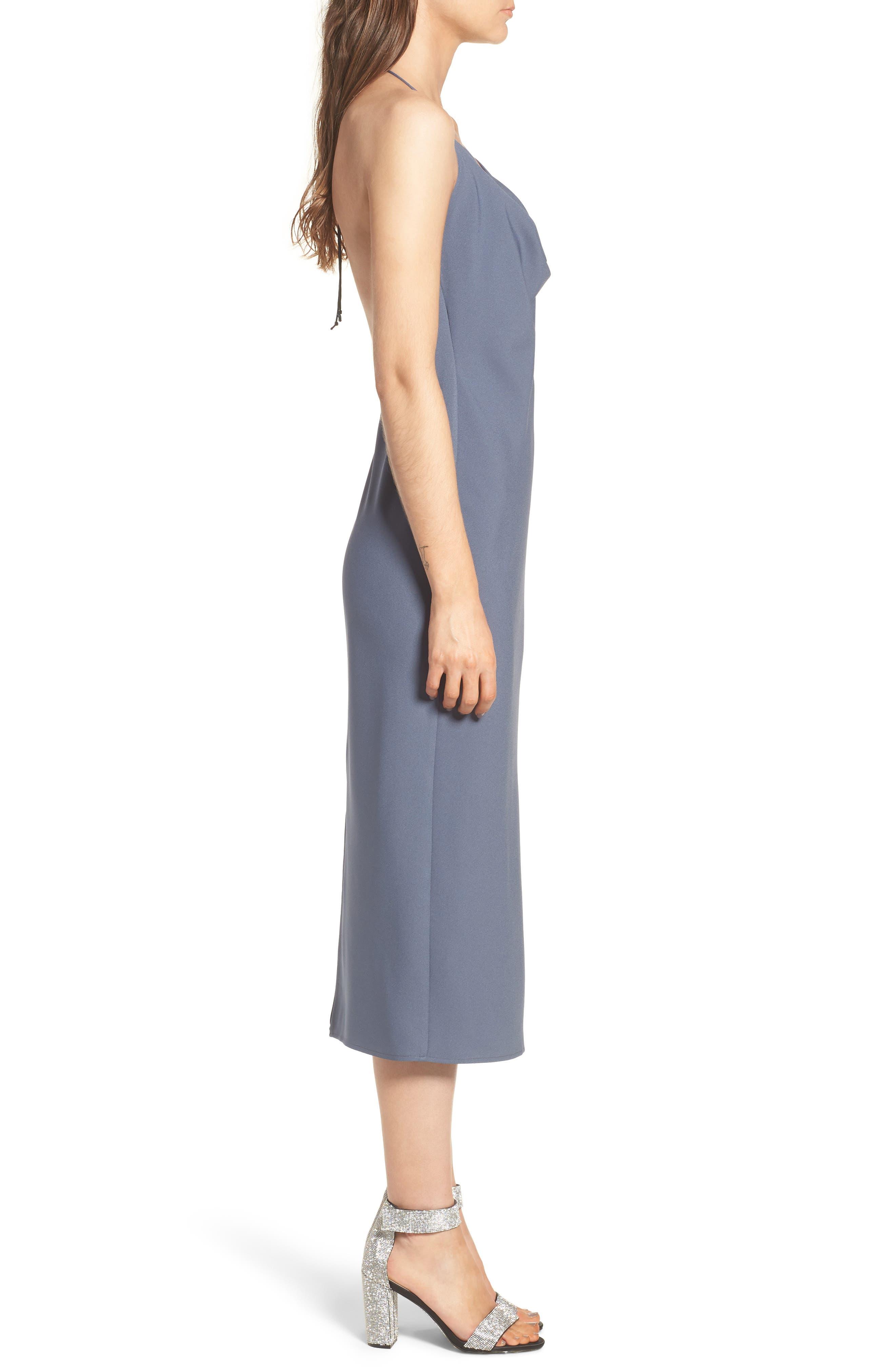 Cowl Neck Midi Dress,                             Alternate thumbnail 3, color,                             Grey Grisaille