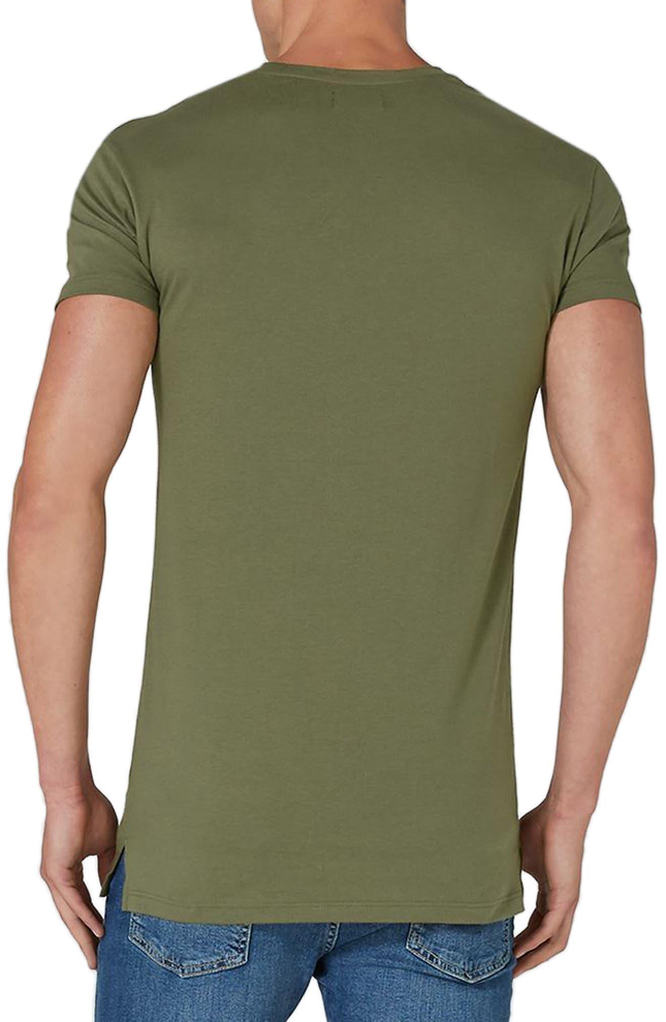 Longline T-Shirt,                             Alternate thumbnail 2, color,                             Olive