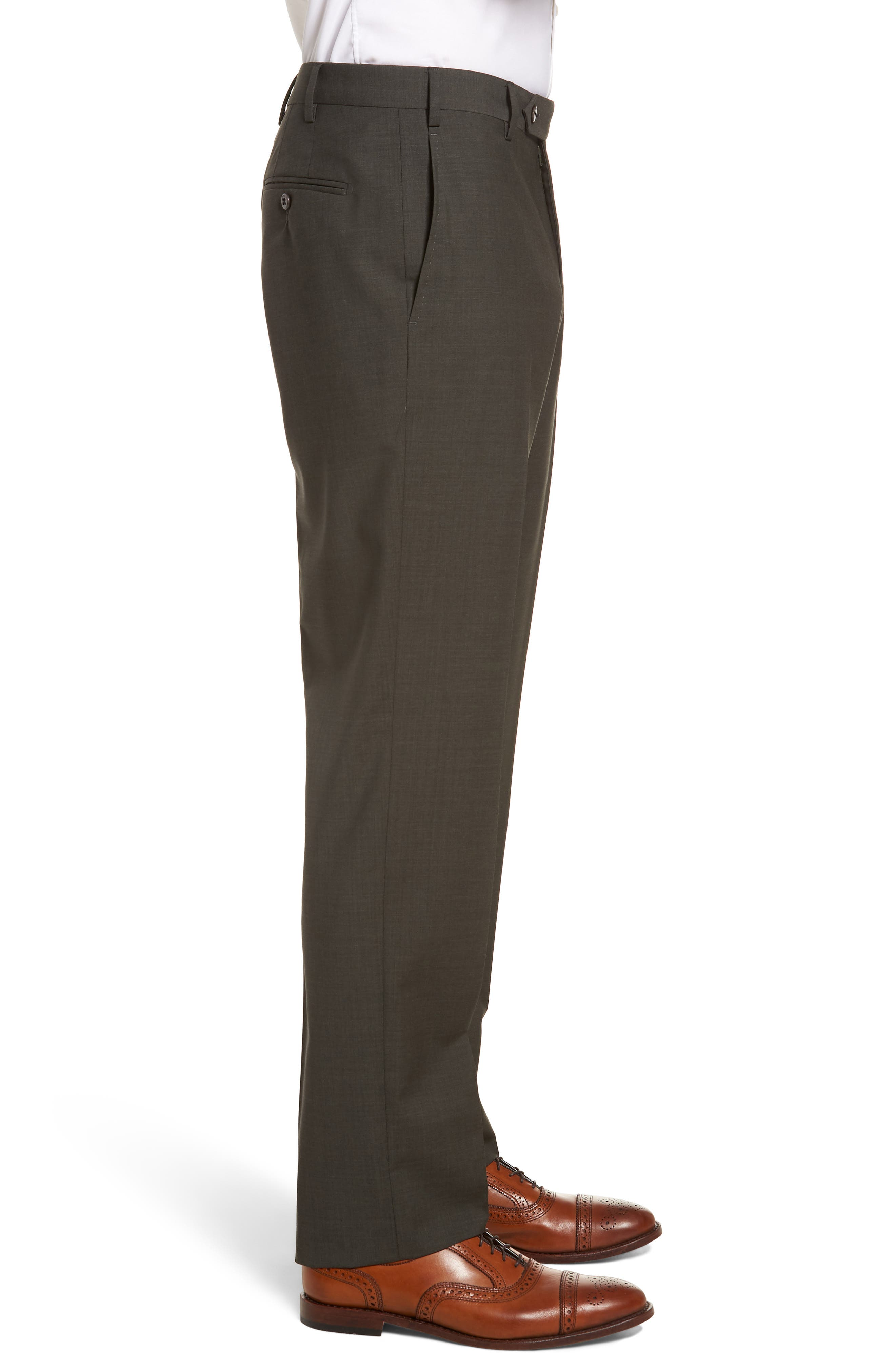 Devon Flat Front Solid Wool Trousers,                             Alternate thumbnail 3, color,                             Olive