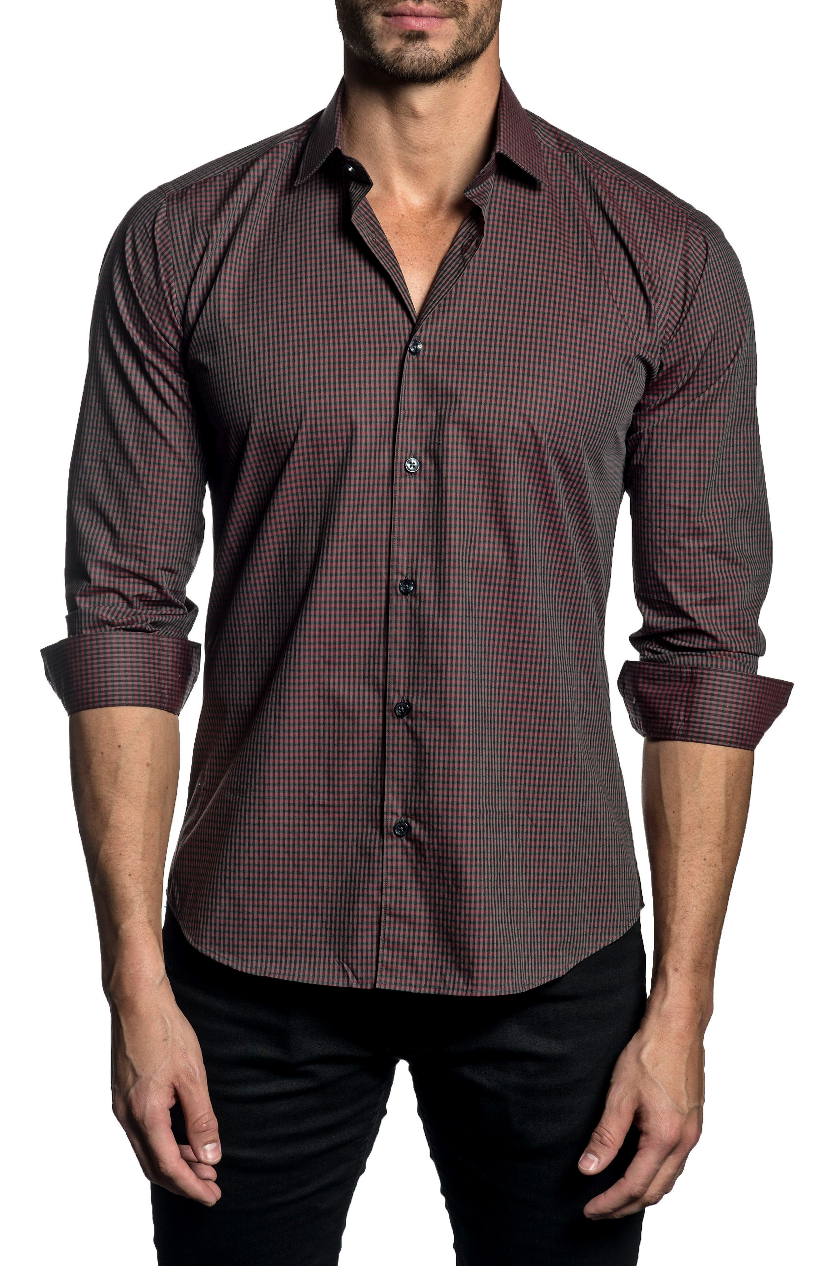 Trim Fit Check Sport Shirt,                         Main,                         color, Red/ Grey Melange Check