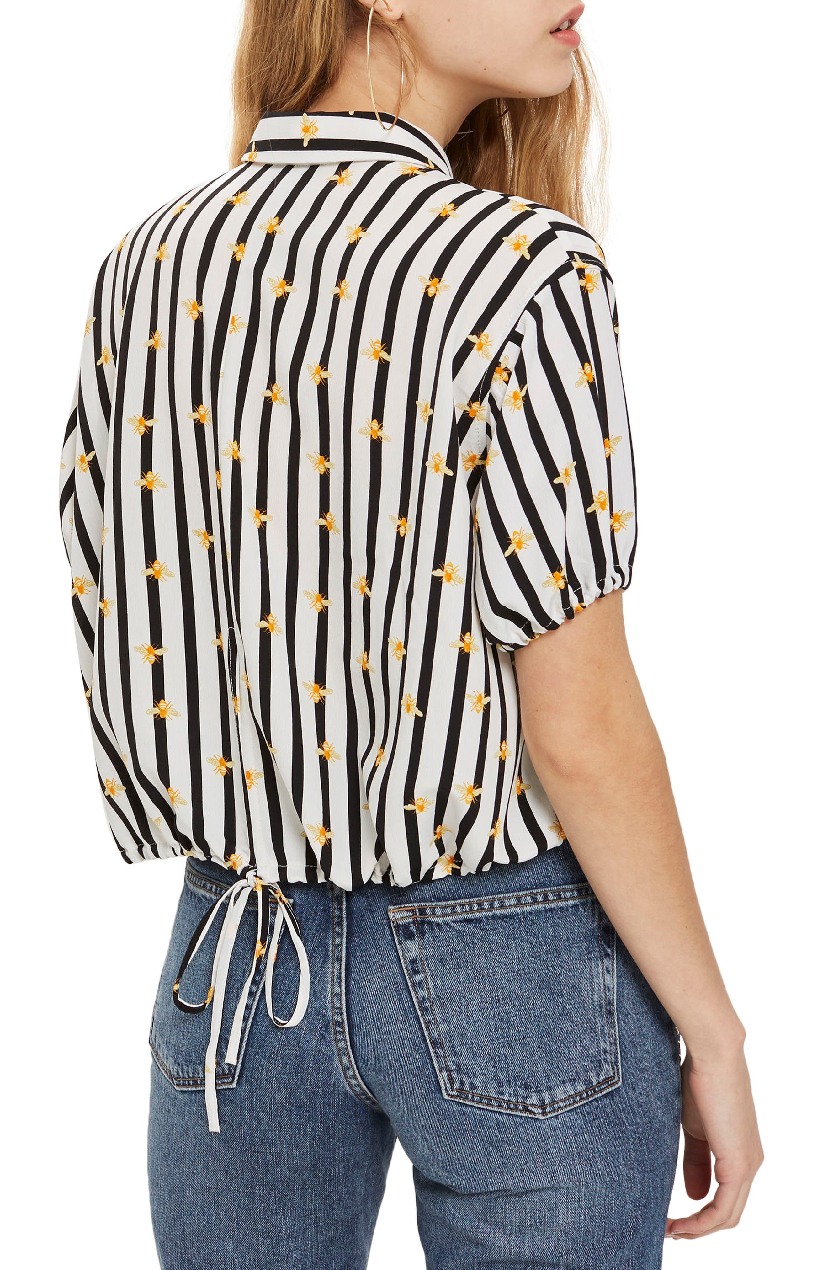 Alexa Bee Stripe Blouse,                             Alternate thumbnail 2, color,                             Black Multi