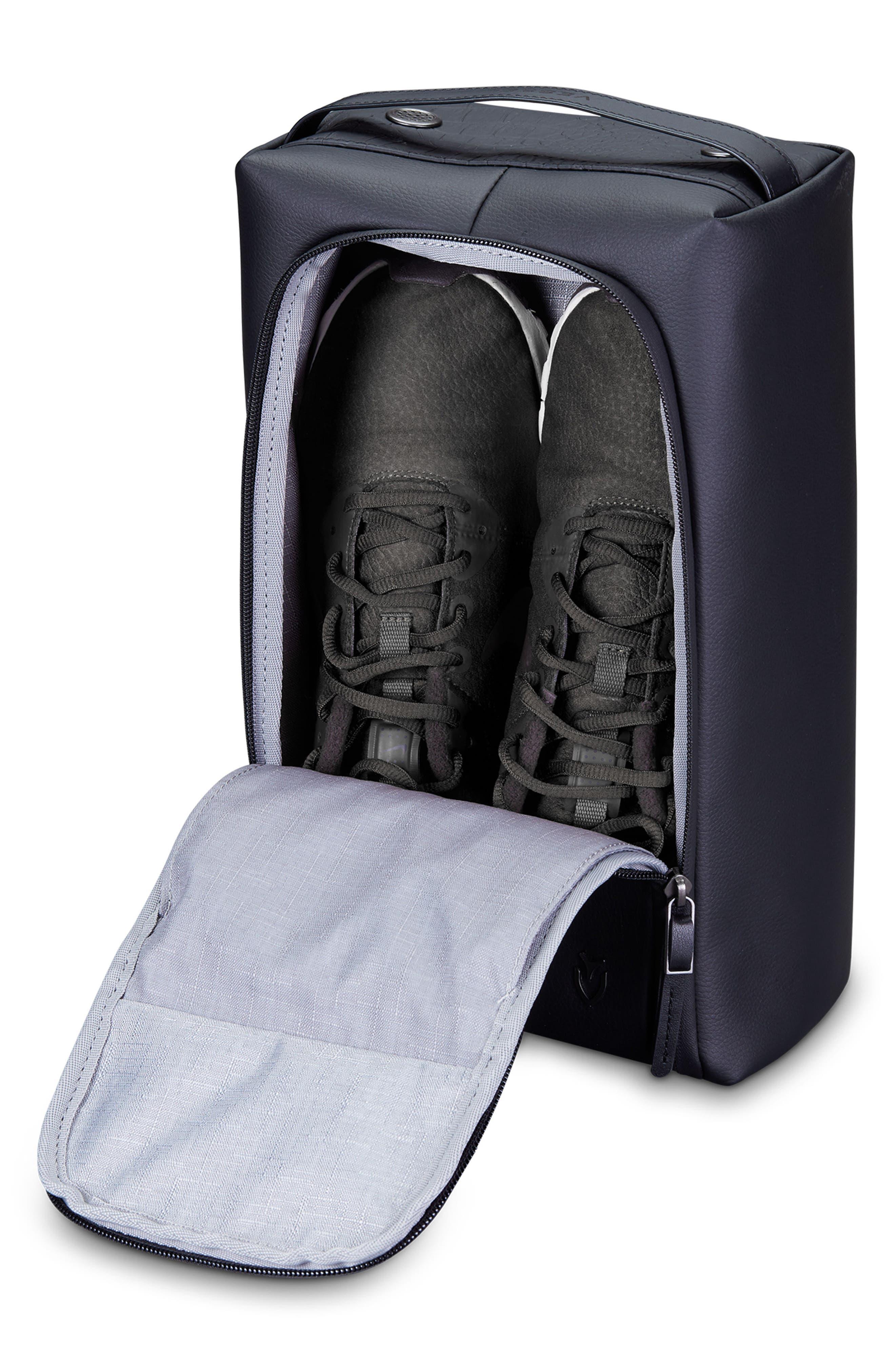 Signature 2.0 Faux Leather Shoe Bag,                             Alternate thumbnail 3, color,                             Pebbled/ Croc Black