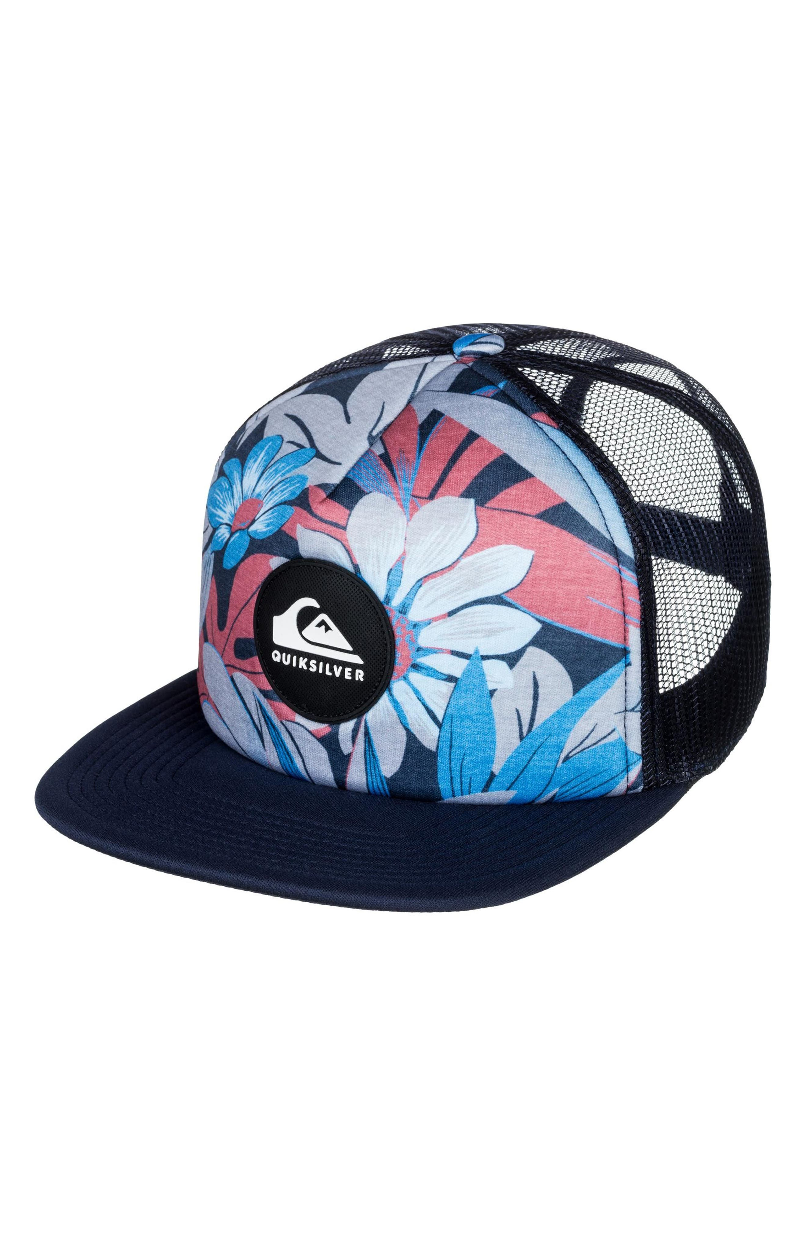 Quicksilver Faded Out Trucker Hat,                             Main thumbnail 1, color,                             Navy Blazer