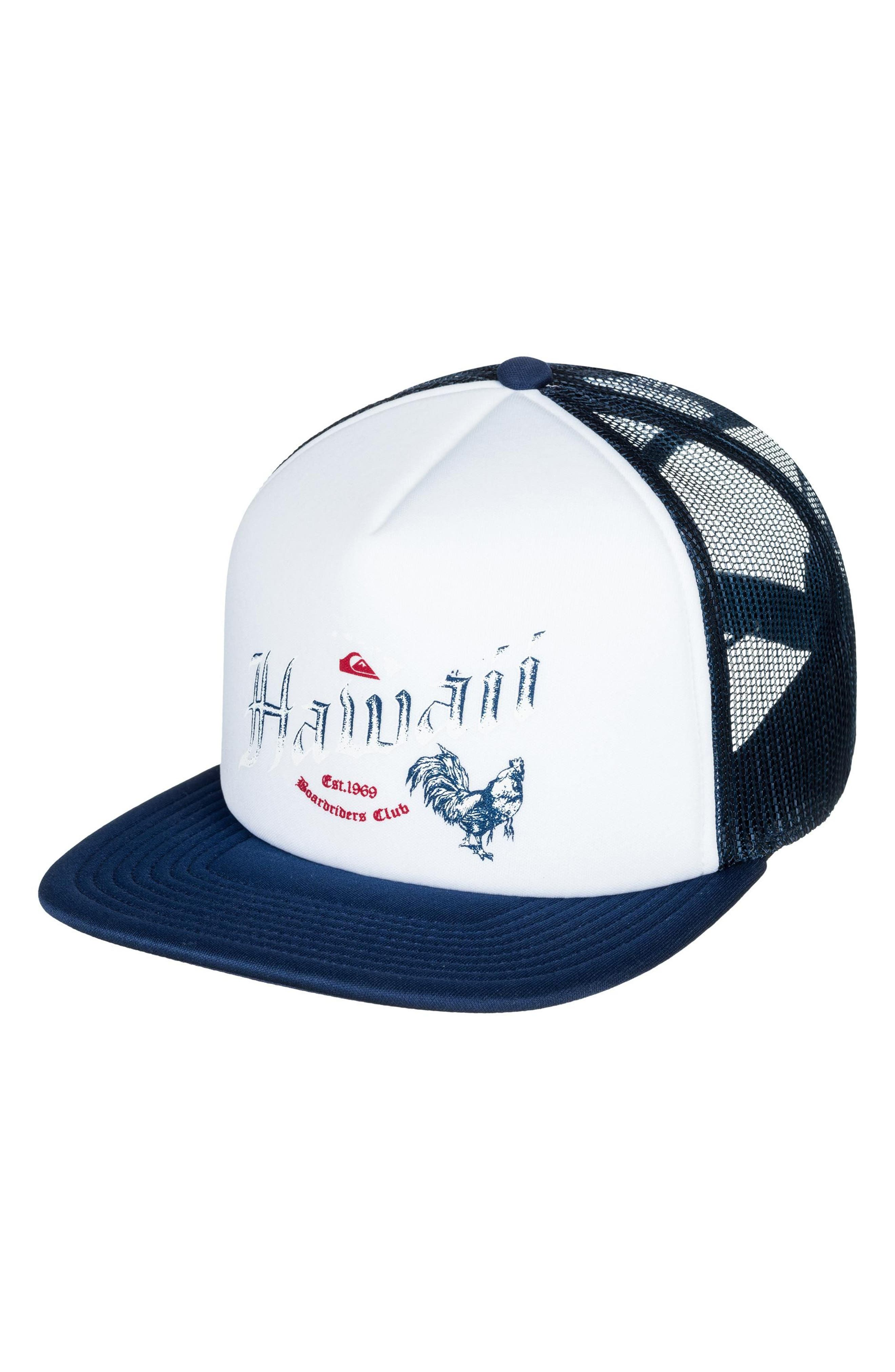 Rooster Graphic Trucker Hat,                         Main,                         color, White