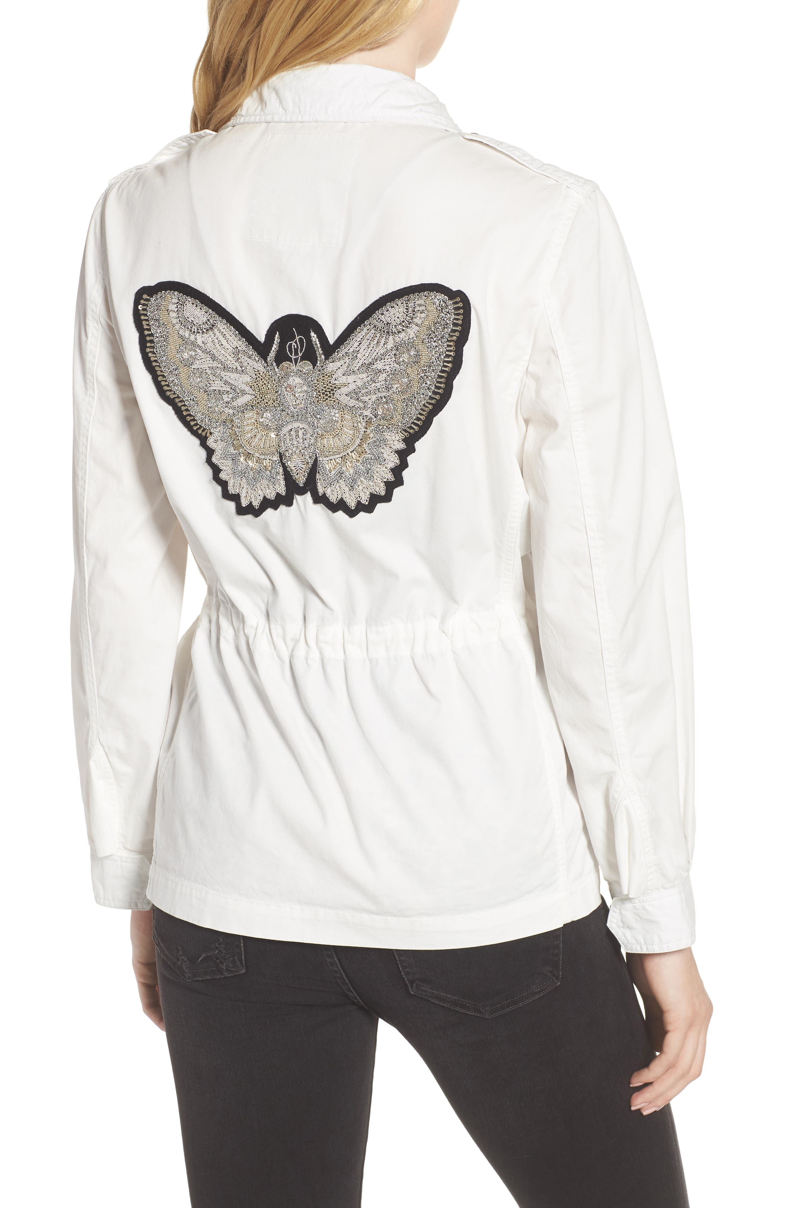 Embroidered Butterfly Cargo Jacket,                             Alternate thumbnail 2, color,                             Judo