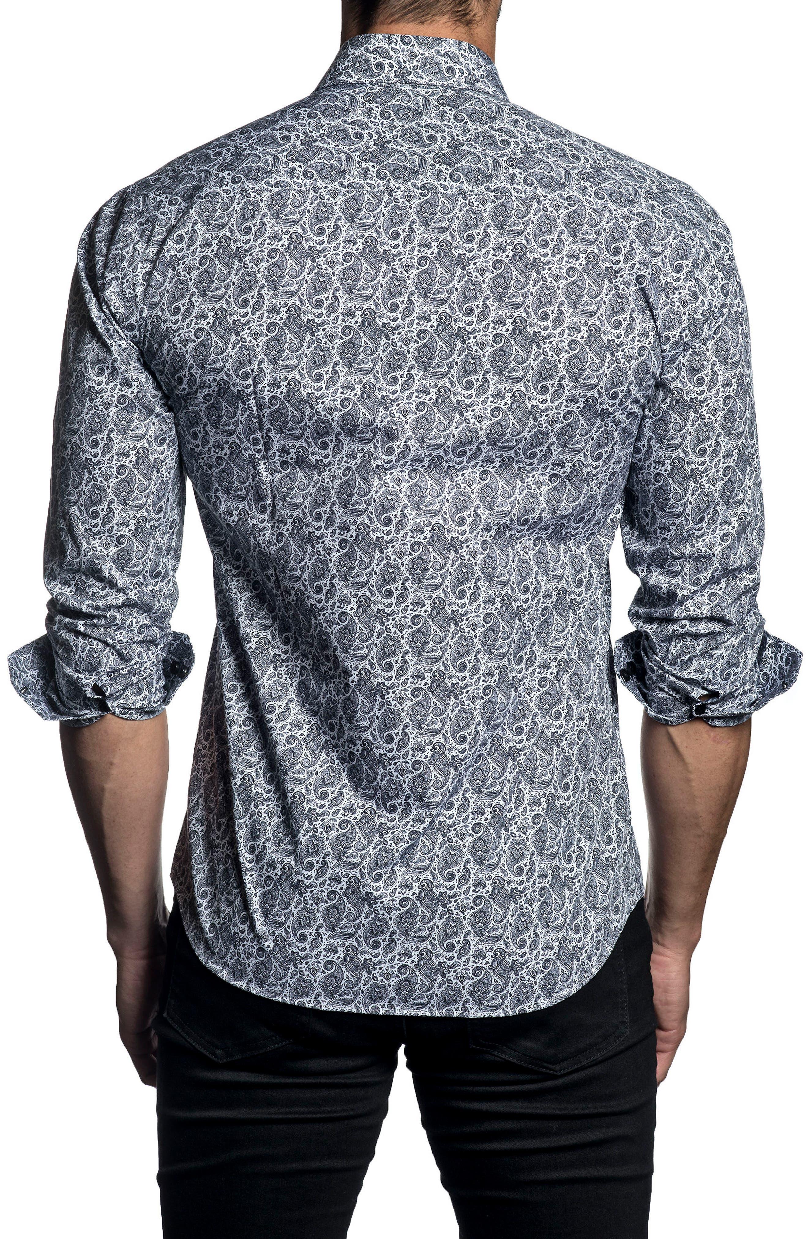 Trim Fit Paisley Sport Shirt,                             Alternate thumbnail 2, color,                             White/ Black Paisley