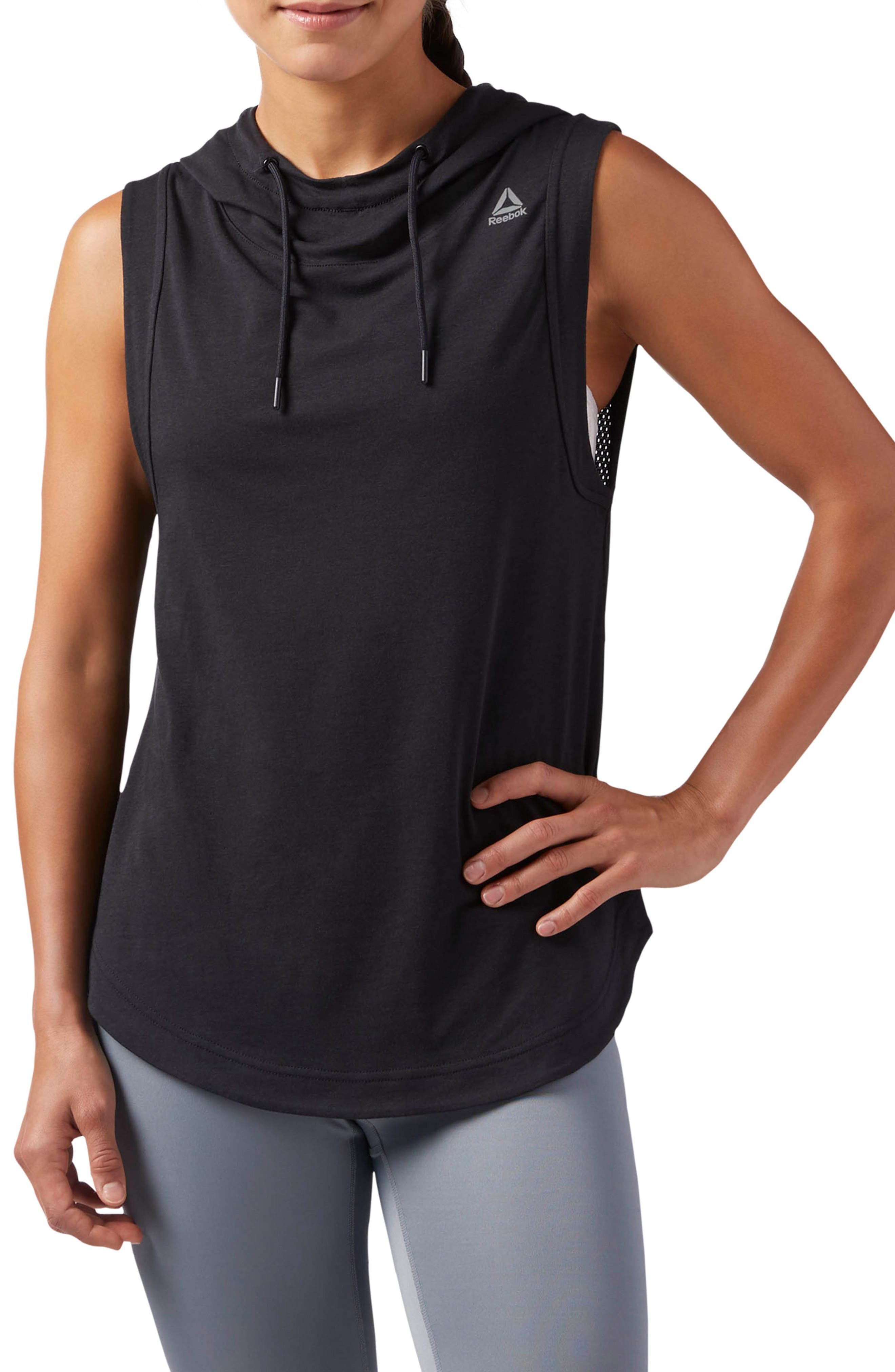 Workout Ready Sleeveless Hoodie,                         Main,                         color, Black