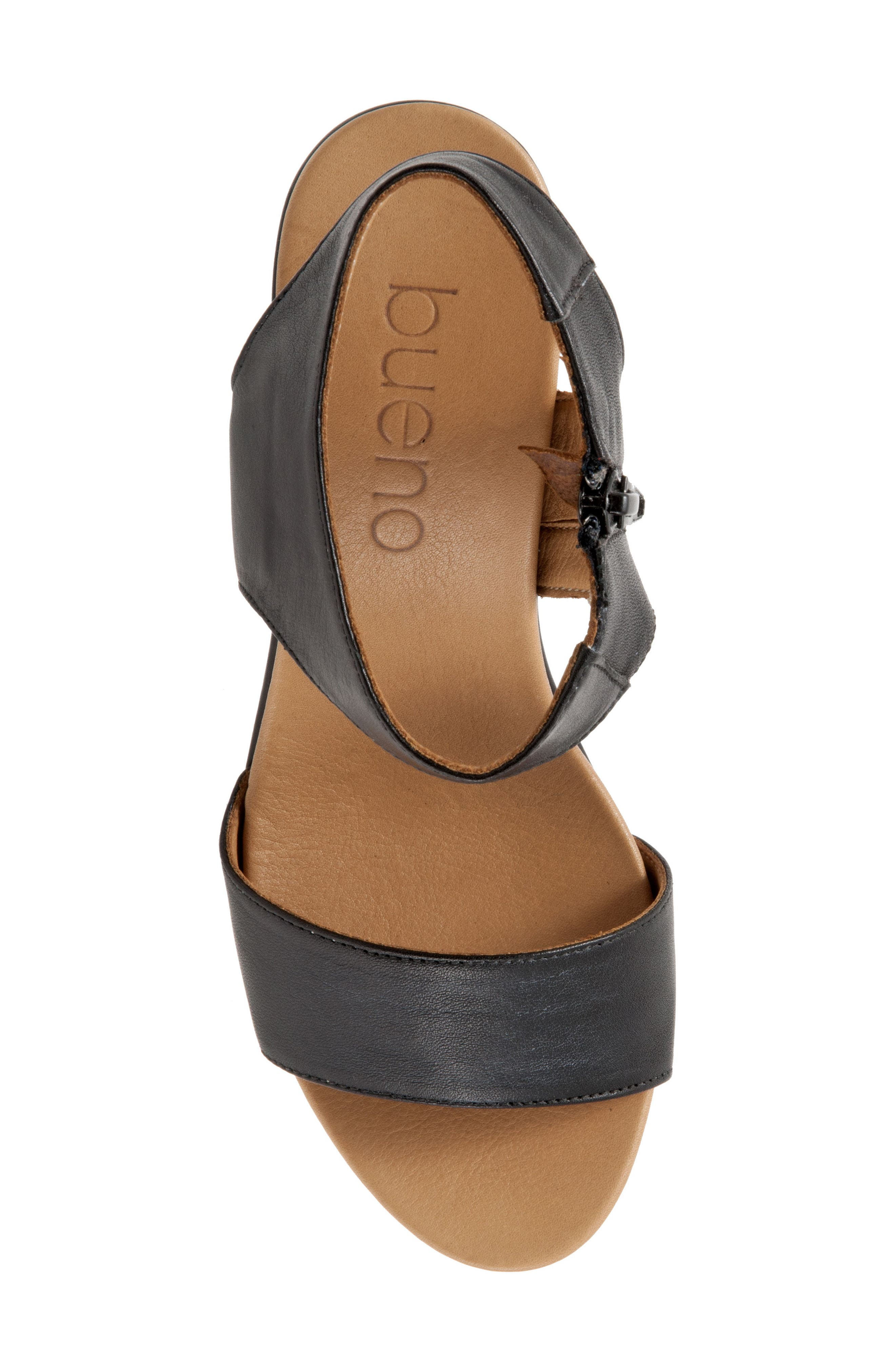 Ida Wedge Sandal,                             Alternate thumbnail 7, color,                             Black Leather
