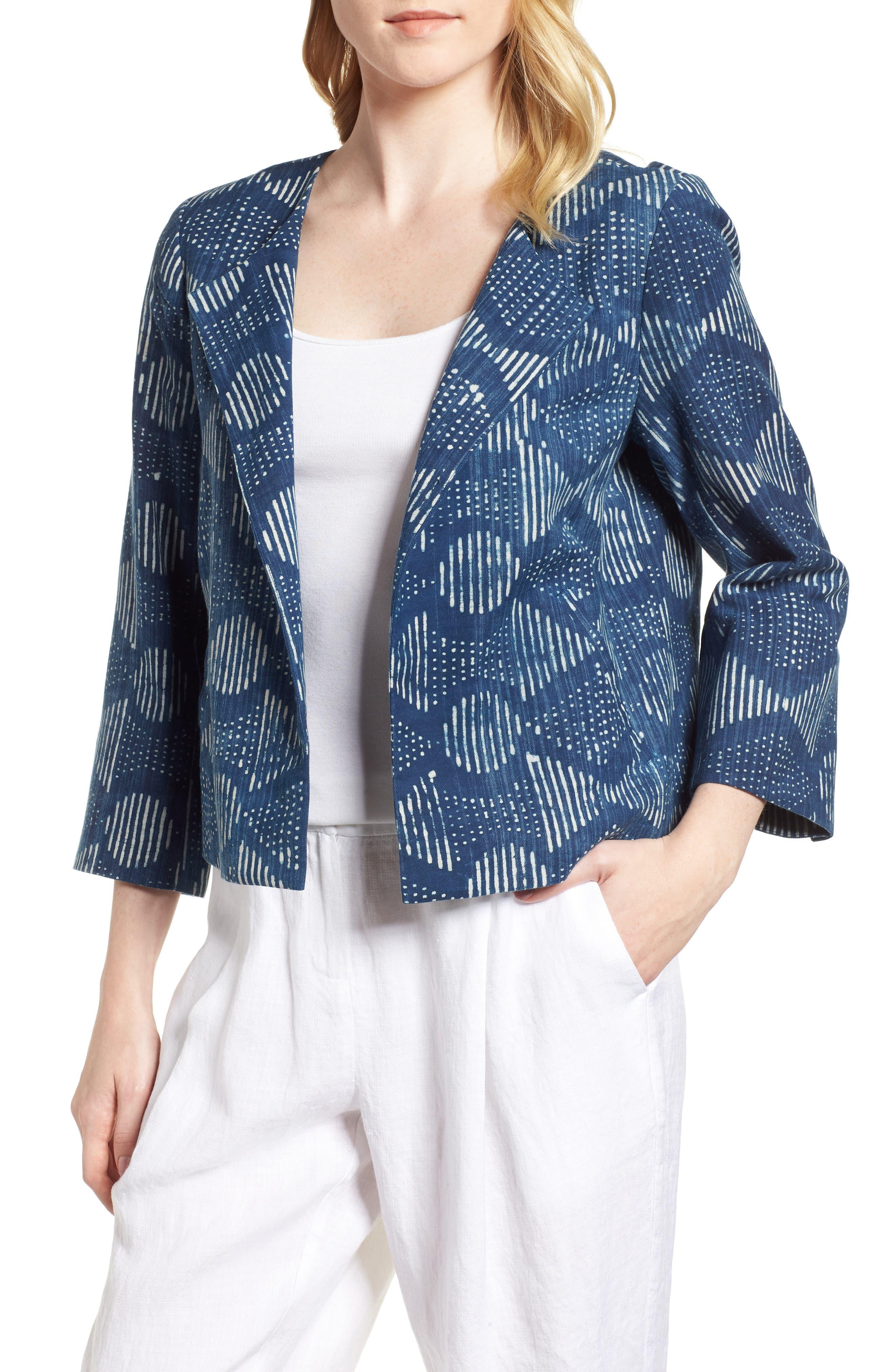 Hand Print Organic Cotton Jacket,                             Main thumbnail 1, color,                             Indigo