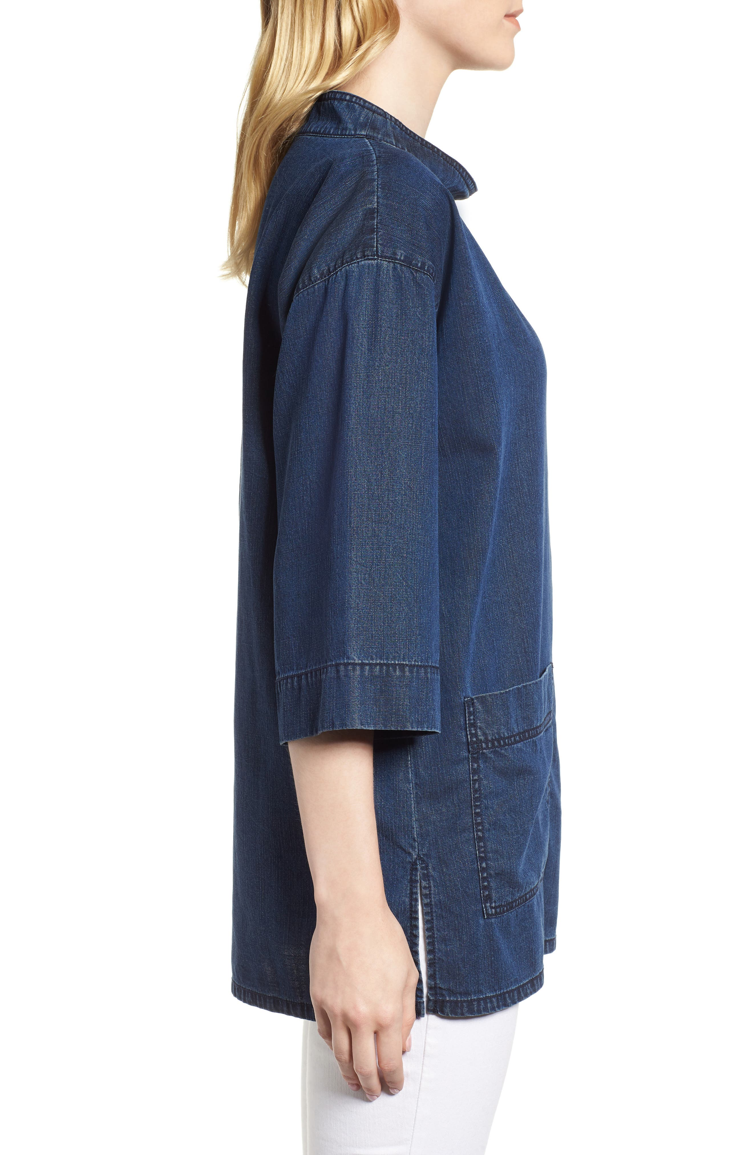 Boxy Soft Cotton Top,                             Alternate thumbnail 3, color,                             Midnight