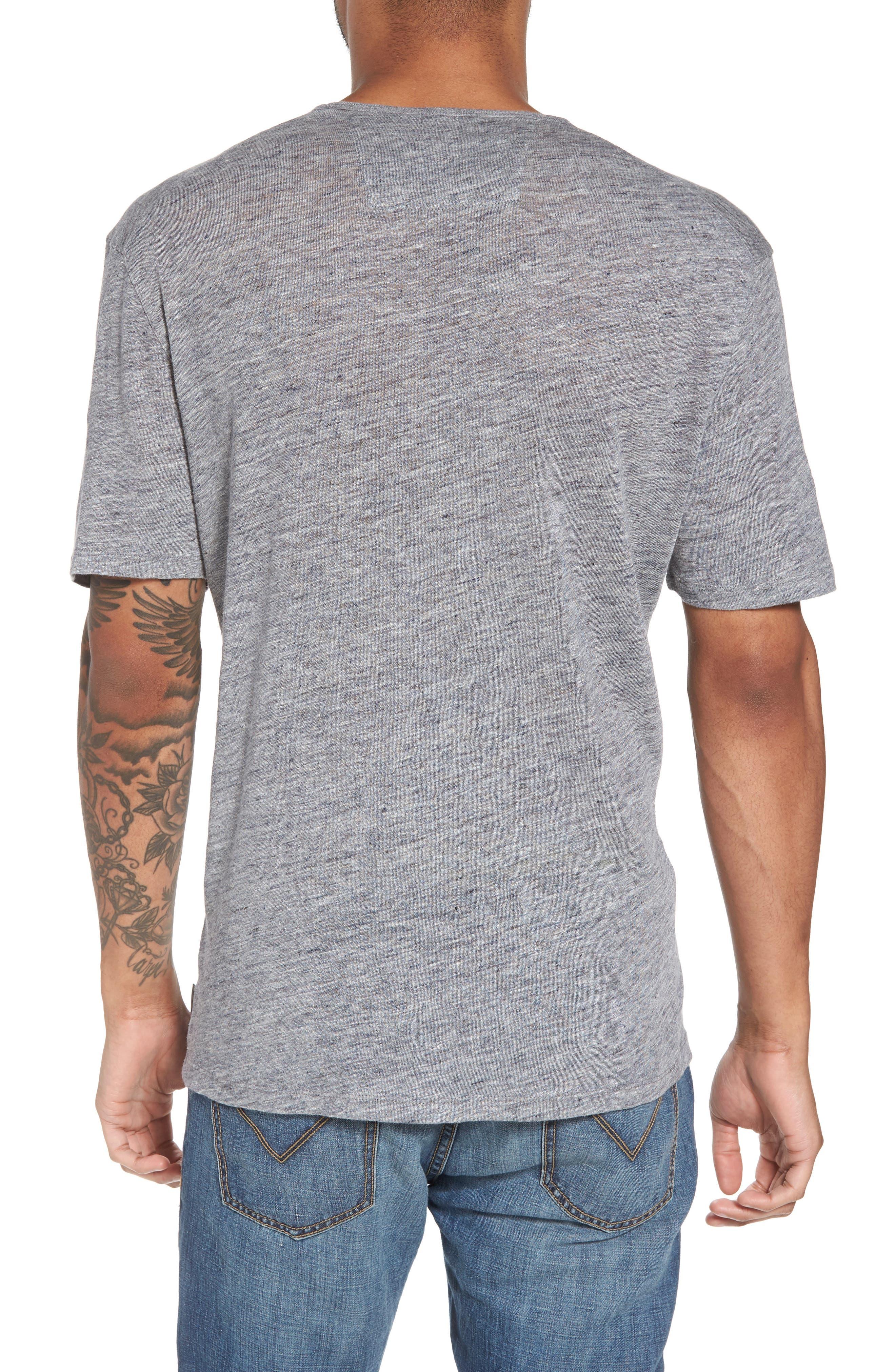 John Varvatos Crewneck Linen T-Shirt,                             Alternate thumbnail 2, color,                             Med Grey