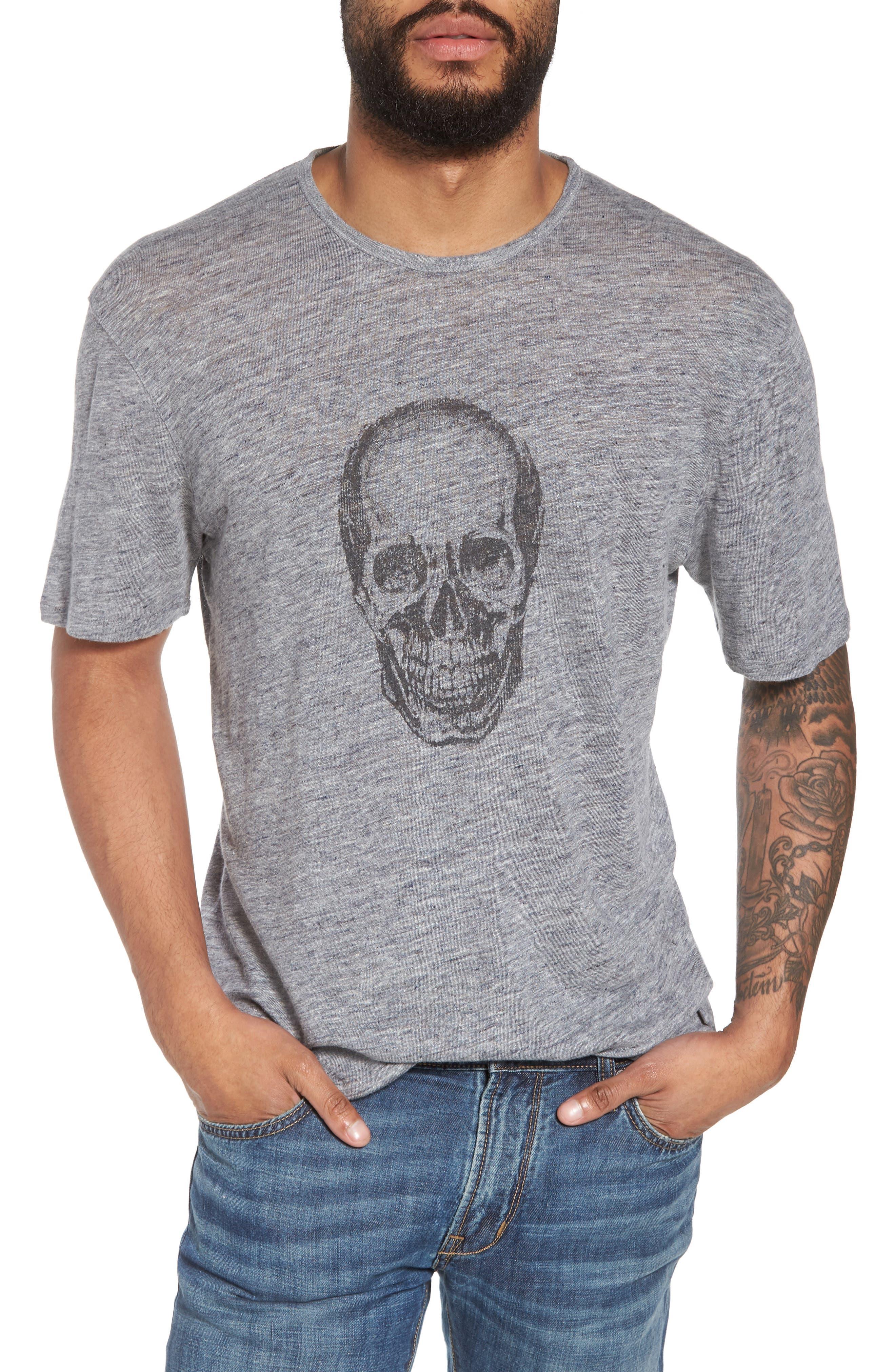 John Varvatos Crewneck Linen T-Shirt,                         Main,                         color, Med Grey