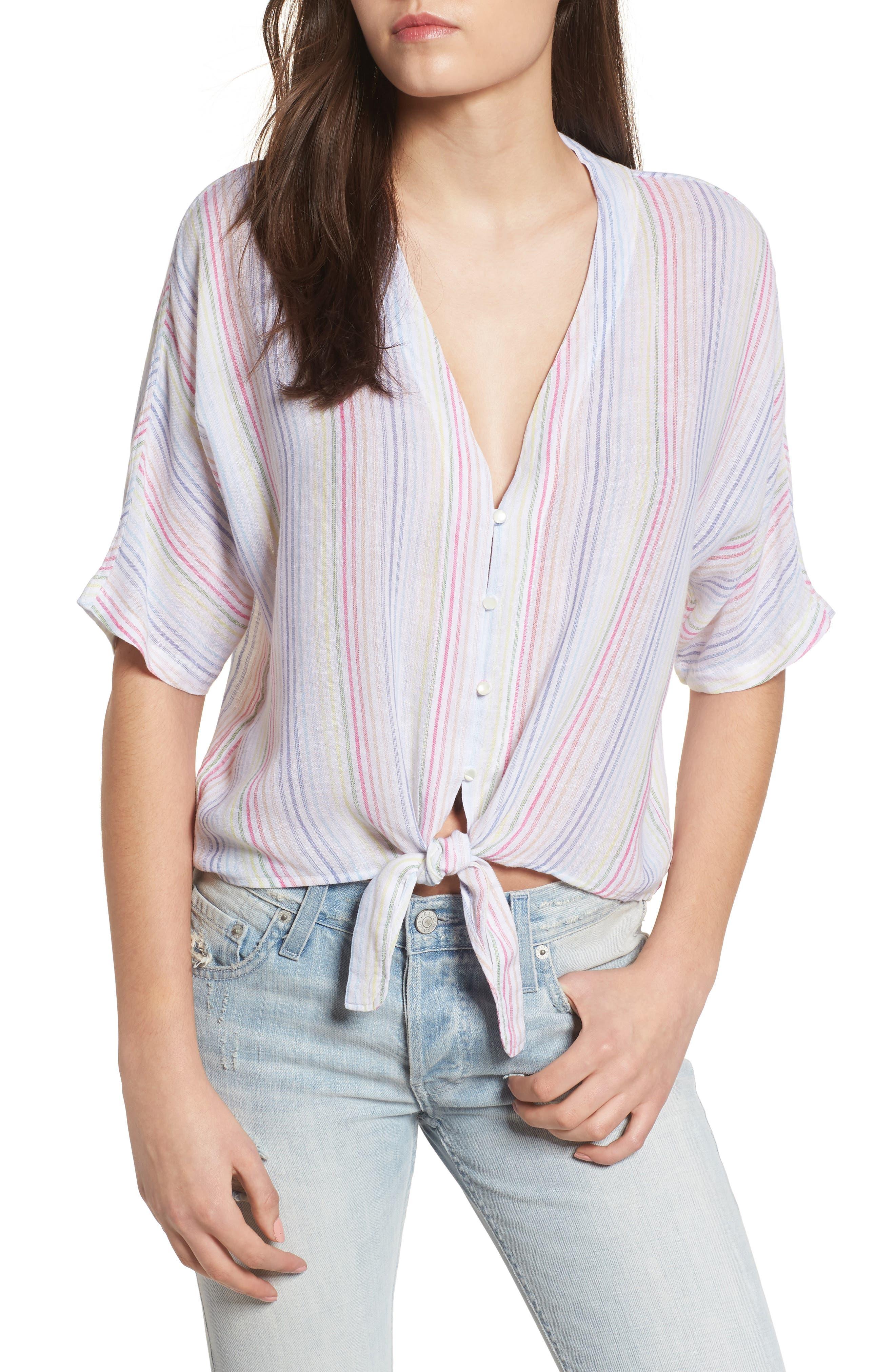 Thea Stripe Tie Waist Linen Blend Top,                         Main,                         color, Isla Stripe