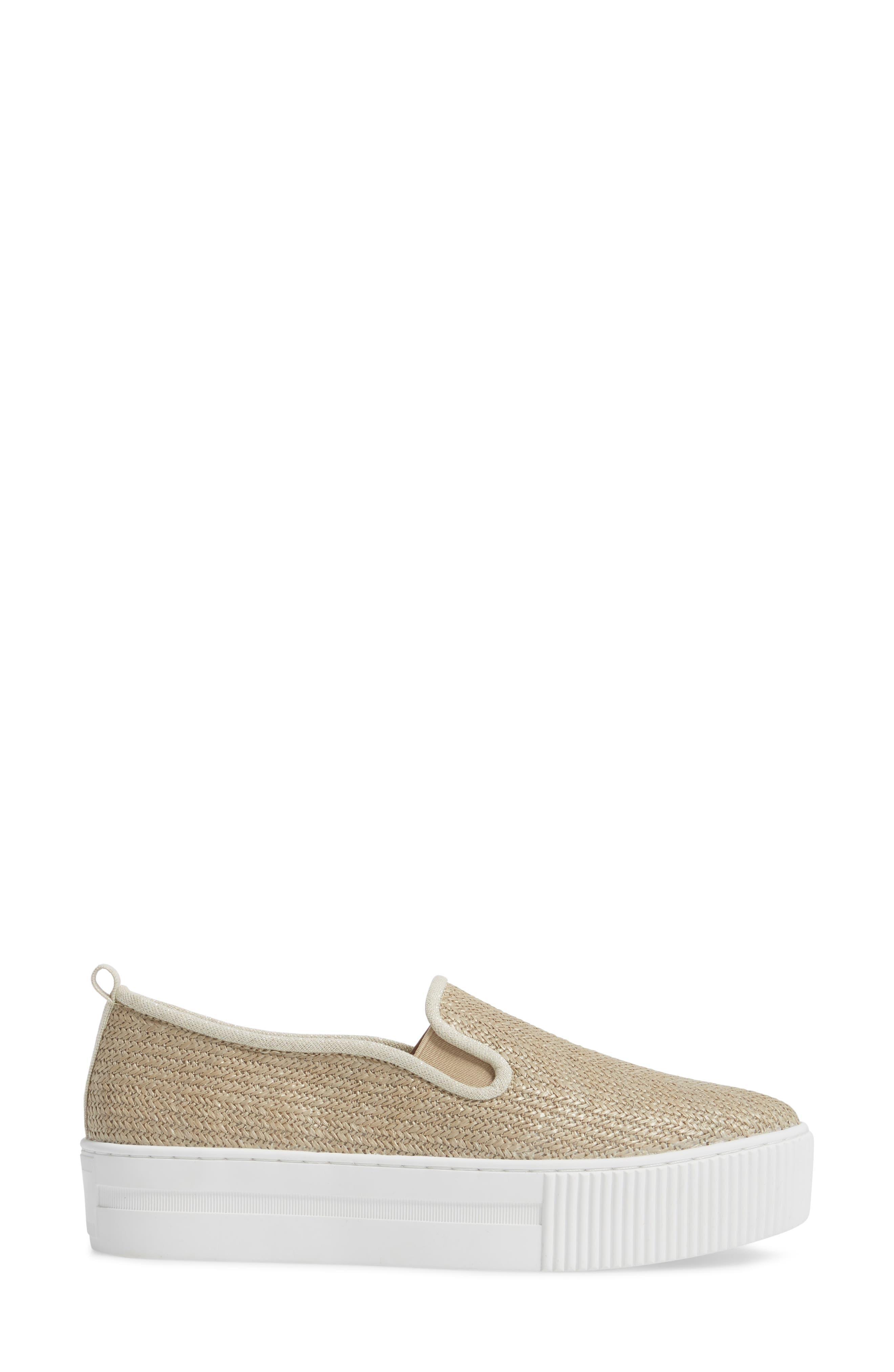 Baylee Platform Slip-On Sneaker,                             Alternate thumbnail 3, color,                             Natural Raffia