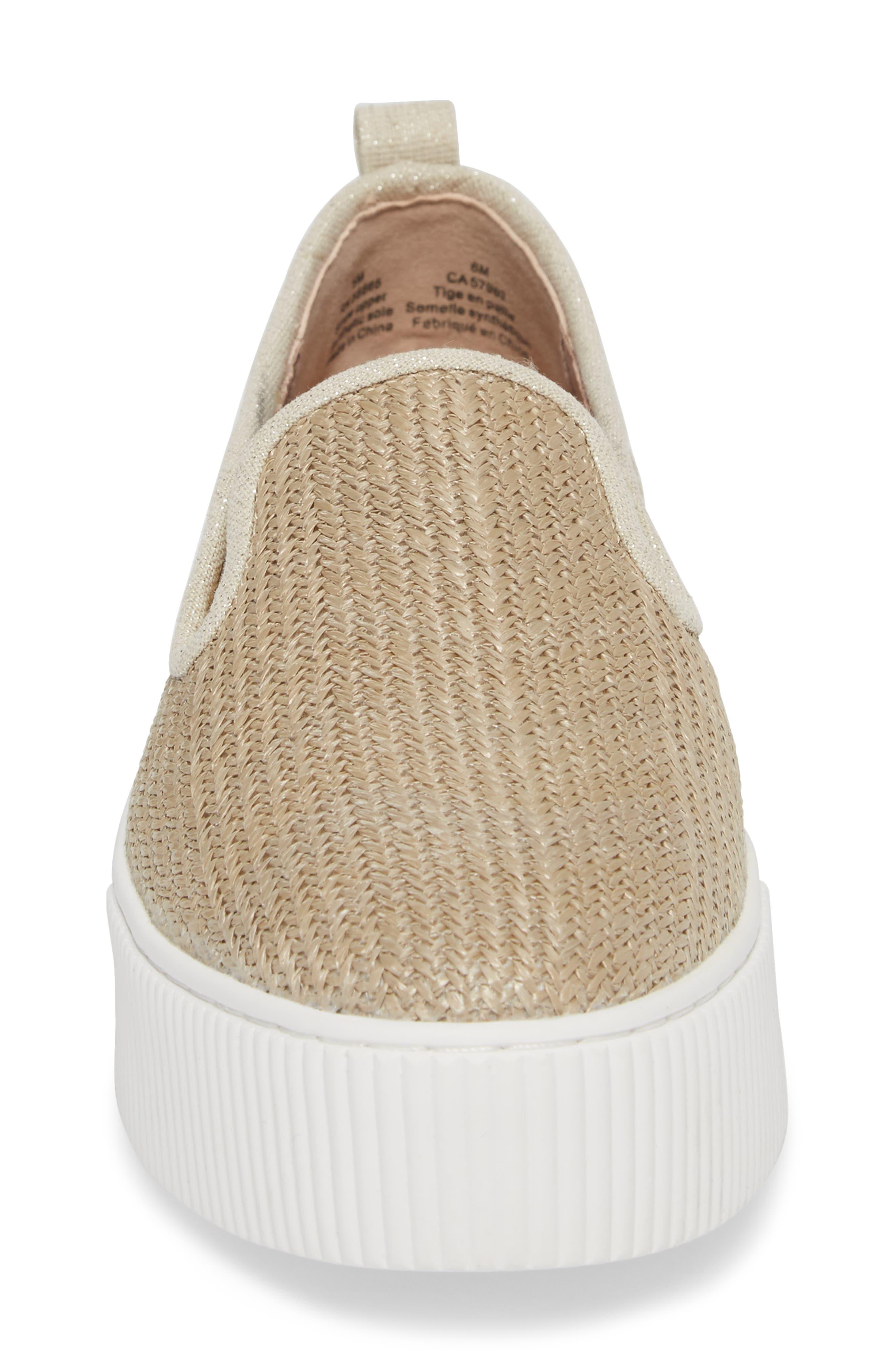 Baylee Platform Slip-On Sneaker,                             Alternate thumbnail 4, color,                             Natural Raffia