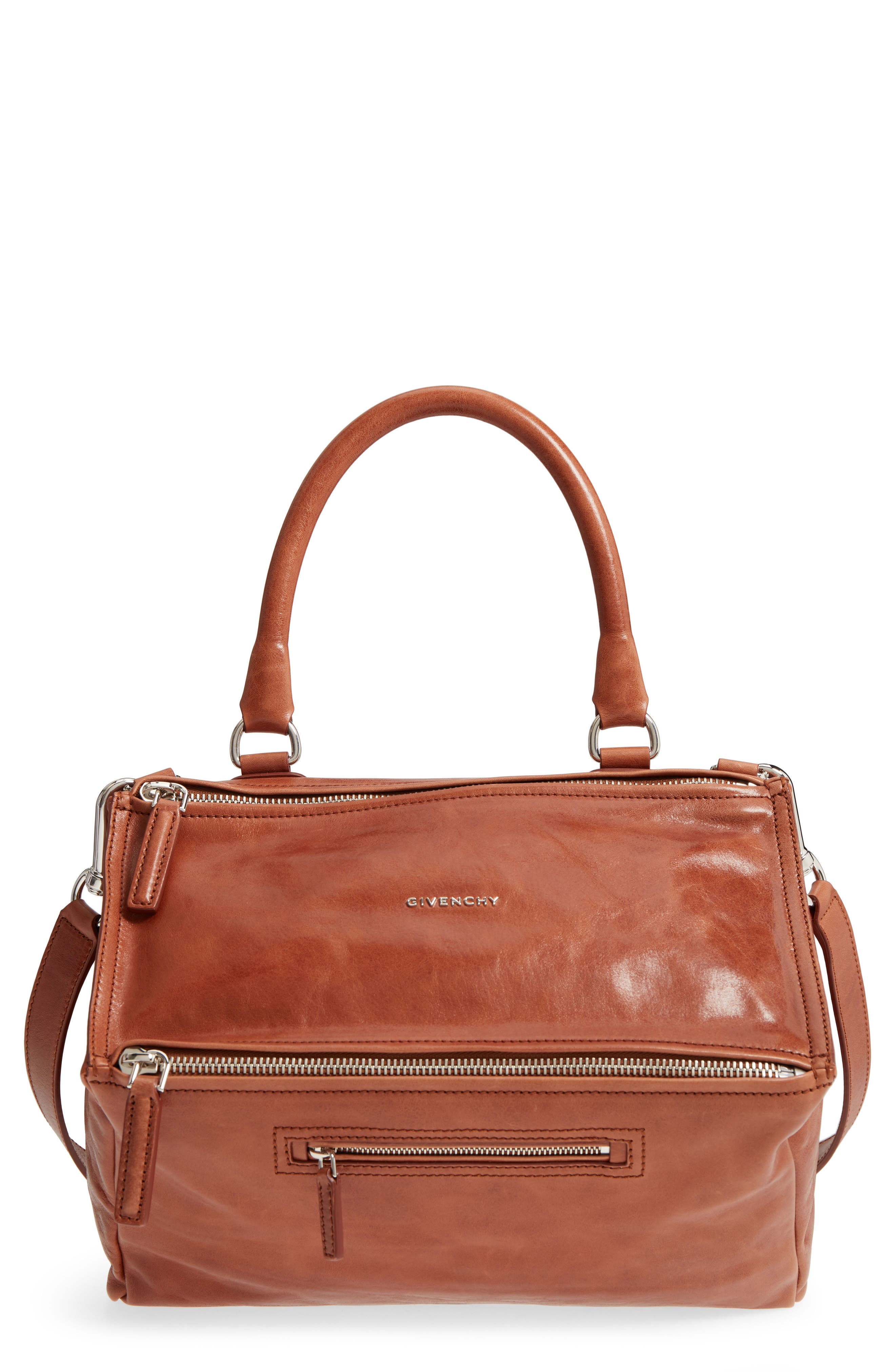 Medium Pandora Shiny Aged Leather Satchel,                         Main,                         color, Cognac