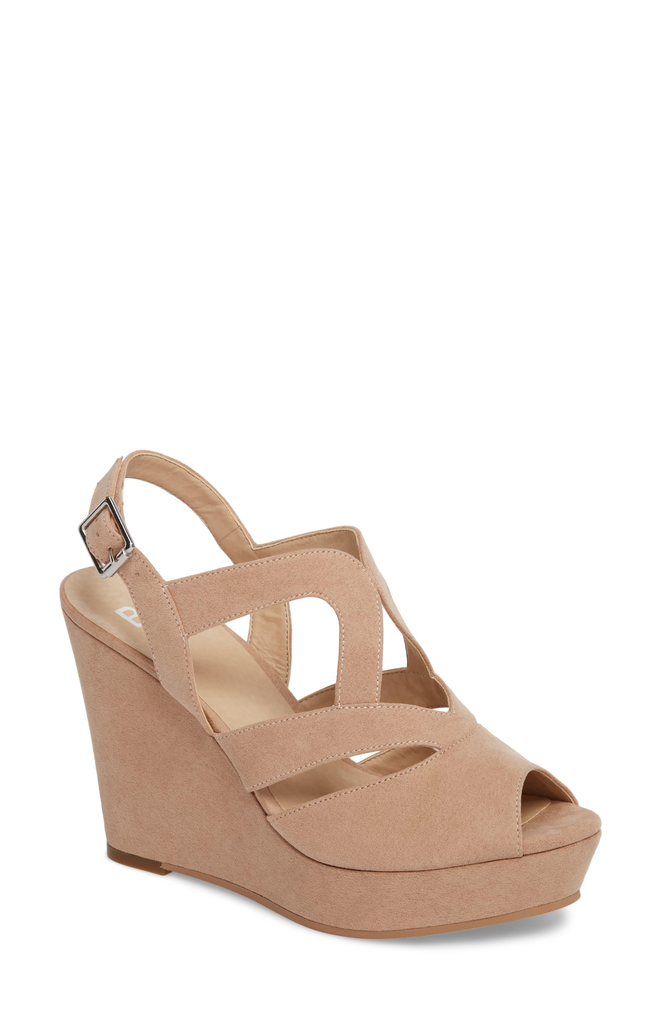 Sunny Platform Wedge Sandal,                             Main thumbnail 1, color,                             Nude Faux Suede